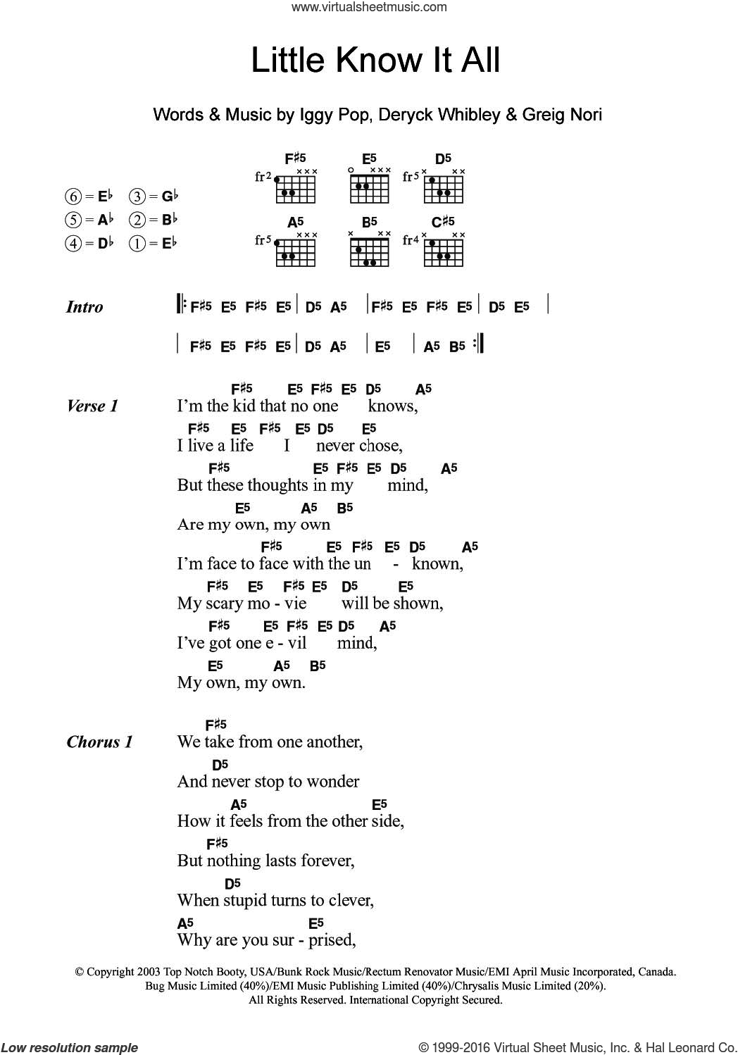Pop Little Know It All Sheet Music For Guitar Chords Pdf