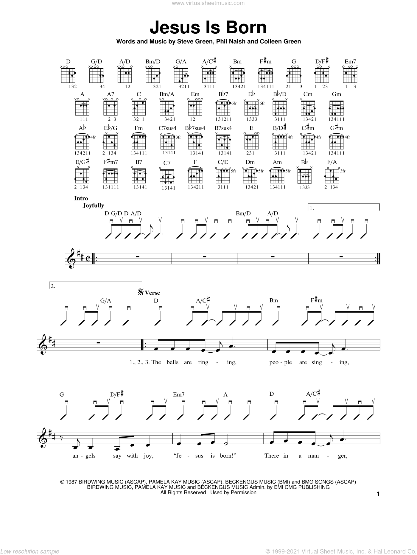Jesus Is Born sheet music for guitar solo (chords) by Steve Green, Colleen Green and Phil Naish, easy guitar (chords)