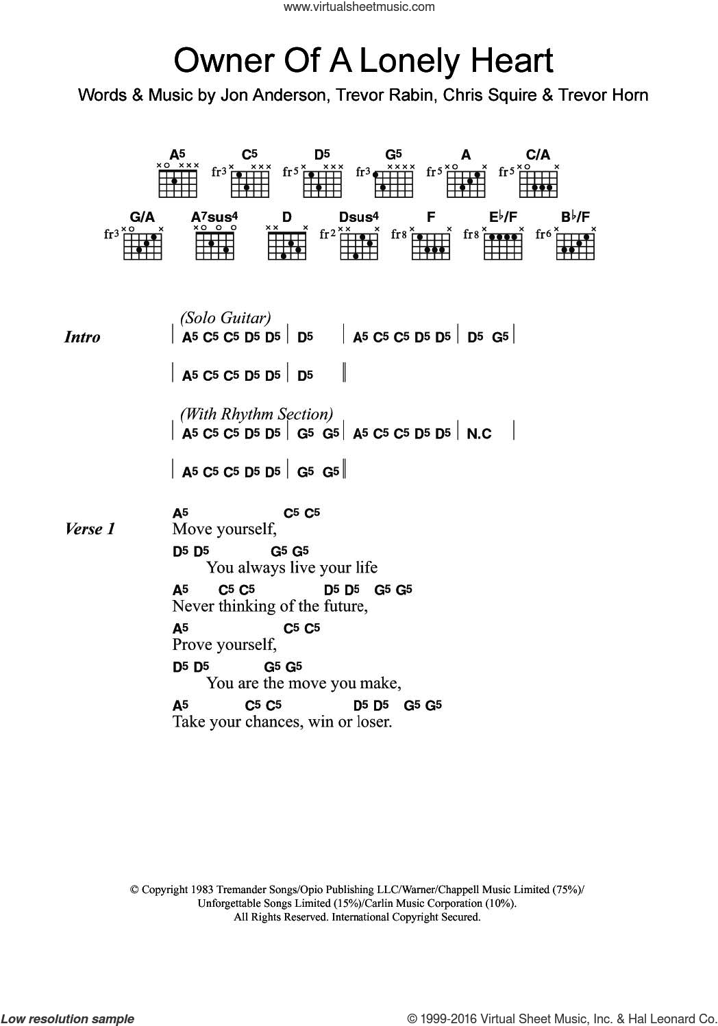 Owner Of A Lonely Heart sheet music for guitar (chords) by Yes, Chris Squire, Jon Anderson, Trevor Horn and Trevor Rabin, intermediate skill level