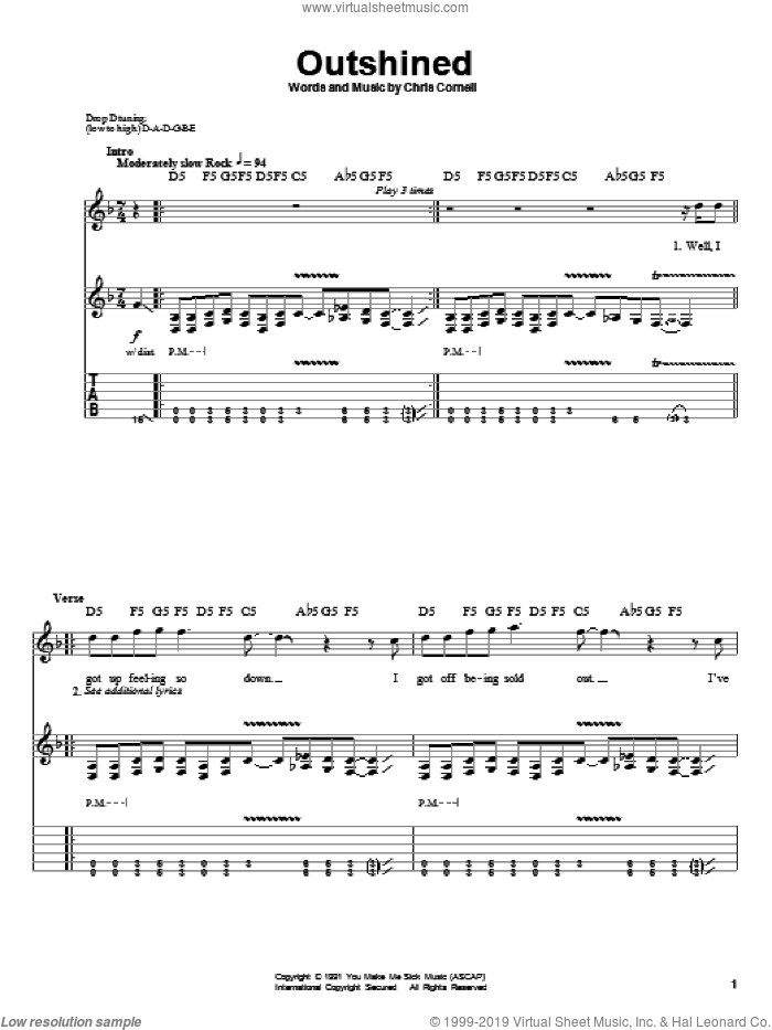 Outshined sheet music for guitar (tablature, play-along) by Soundgarden and Chris Cornell, intermediate skill level