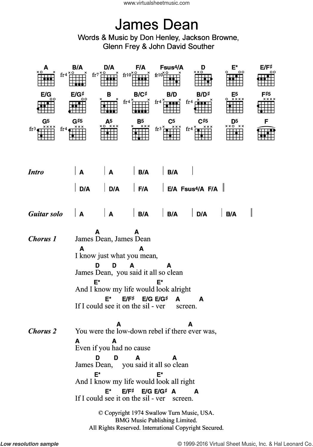 James Dean sheet music for guitar (chords) by Don Henley, The Eagles, Glenn Frey, Jackson Browne and John David Souther, intermediate skill level