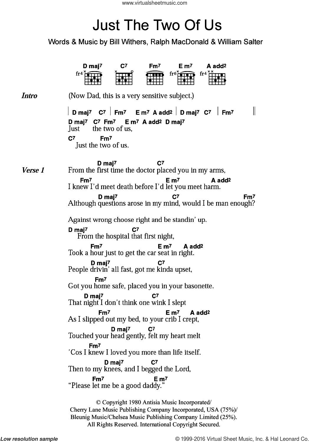 Just The Two Of Us sheet music for guitar (chords) by Bill Withers, Ralph MacDonald and William Salter, intermediate skill level
