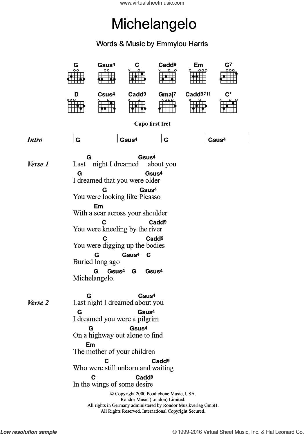 Michelangelo sheet music for guitar (chords) by Emmylou Harris, intermediate. Score Image Preview.