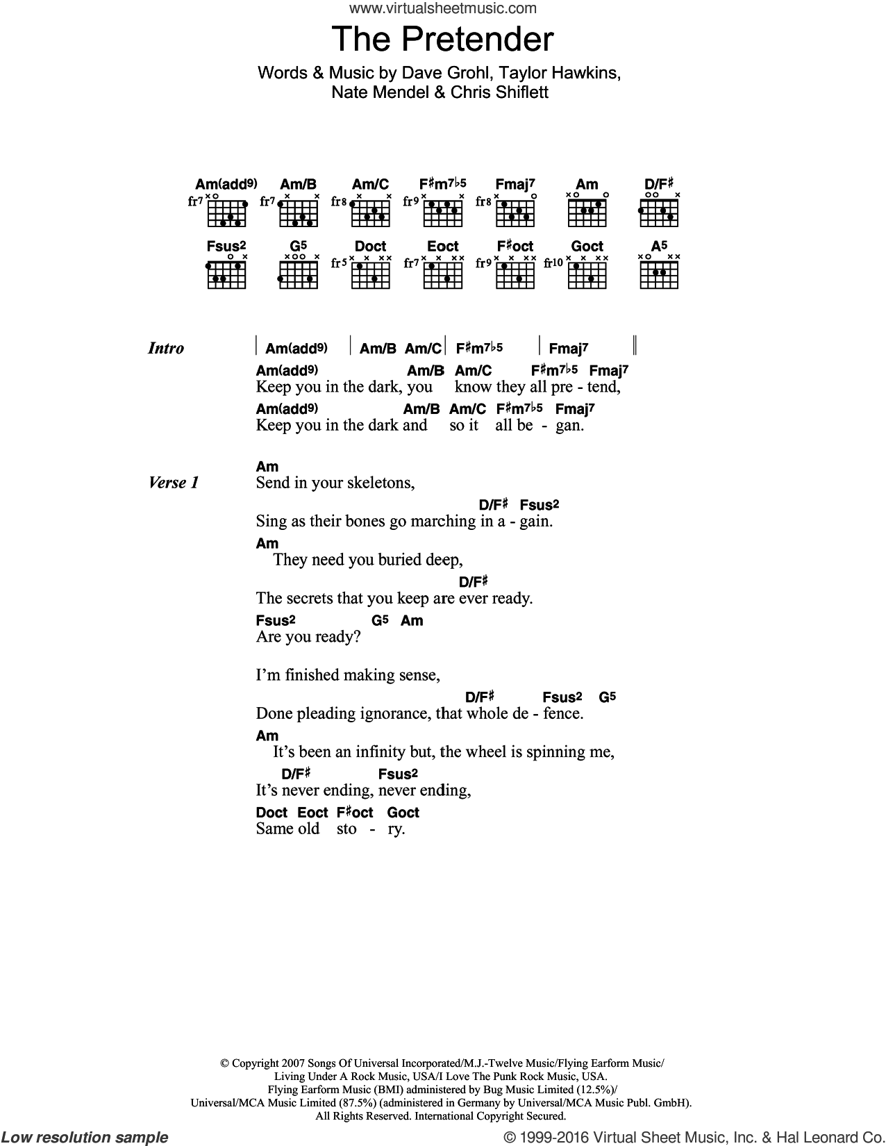 The Pretender sheet music for guitar (chords) by Foo Fighters, Chris Shiflett, Dave Grohl, Nate Mendel and Taylor Hawkins, intermediate skill level