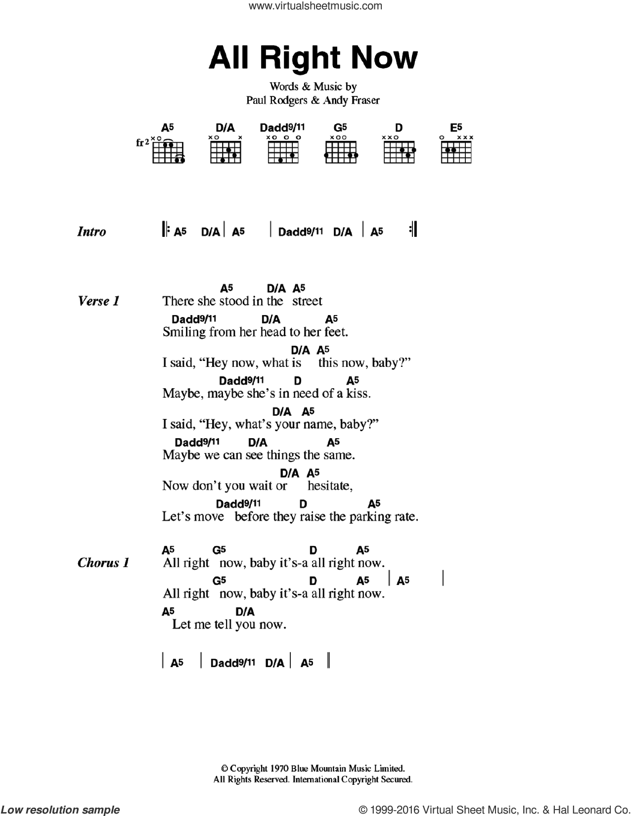 All Right Now sheet music for guitar (chords) by Paul Rodgers and Andy Fraser. Score Image Preview.