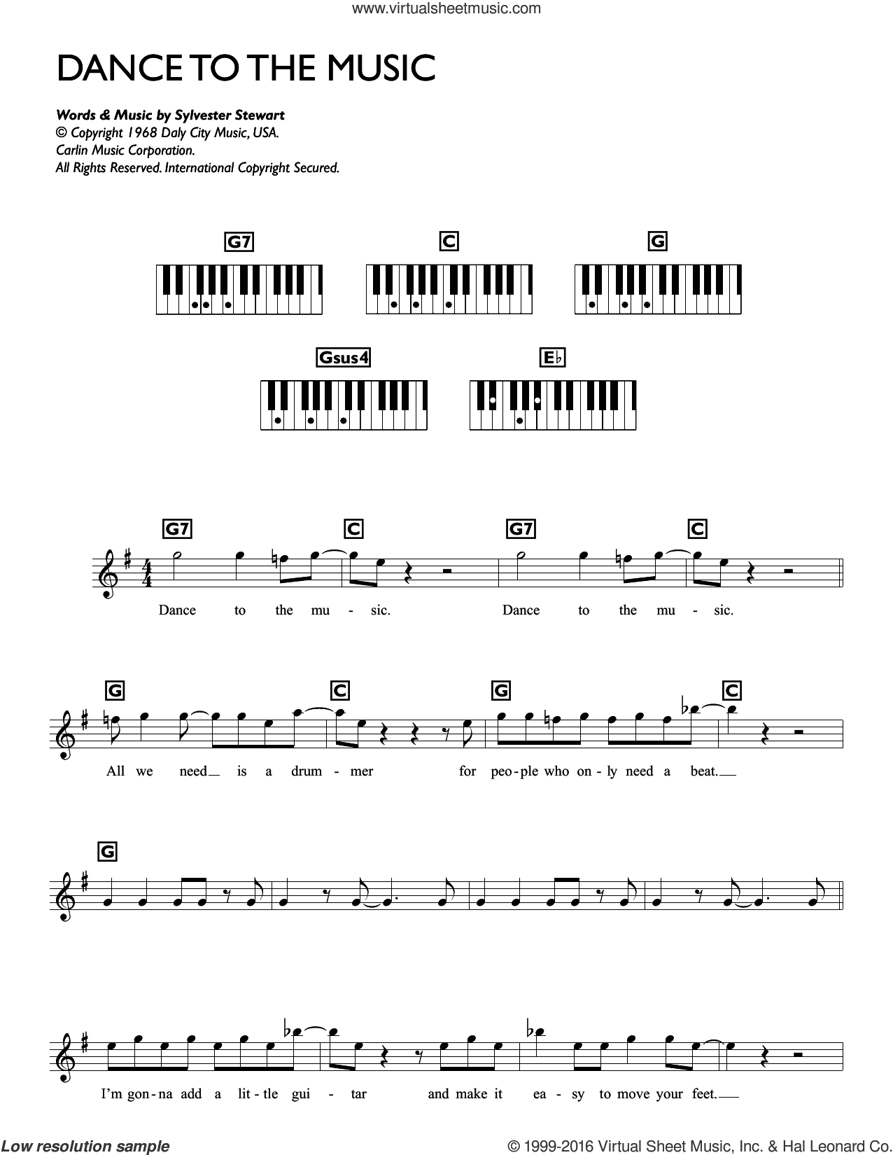 Dance To The Music sheet music for piano solo (chords, lyrics, melody) by Sly & The Family Stone and Sylvester Stewart, intermediate piano (chords, lyrics, melody)