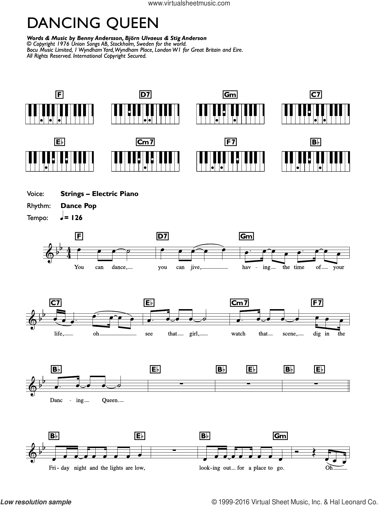 Dancing Queen sheet music for piano solo (chords, lyrics, melody) by Stig Anderson, ABBA, Benny Andersson and Bjorn Ulvaeus. Score Image Preview.