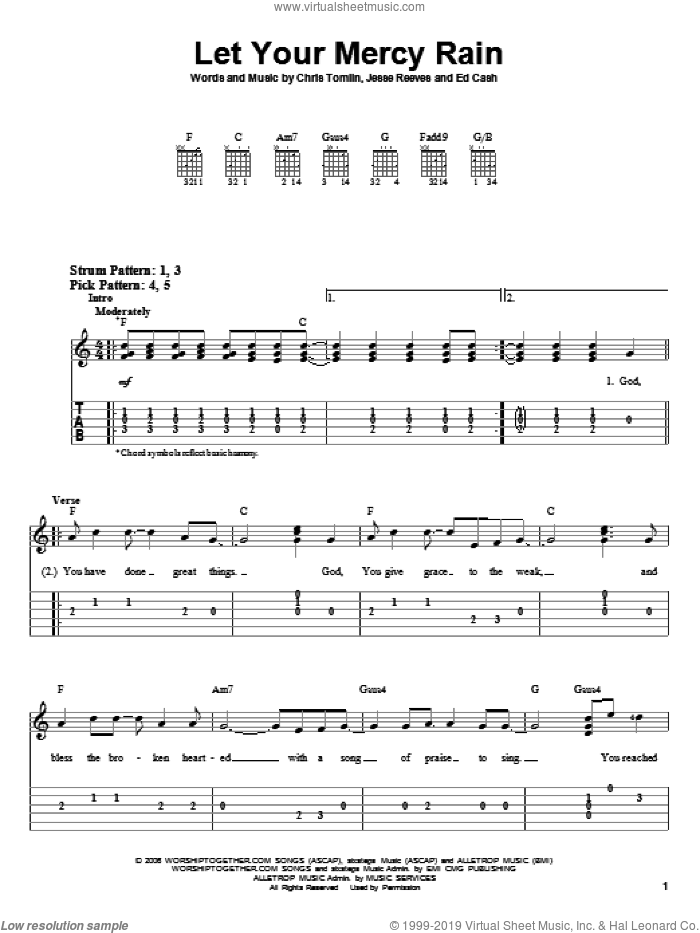 Let Your Mercy Rain sheet music for guitar solo (easy tablature) by Chris Tomlin, Ed Cash and Jesse Reeves, easy guitar (easy tablature). Score Image Preview.