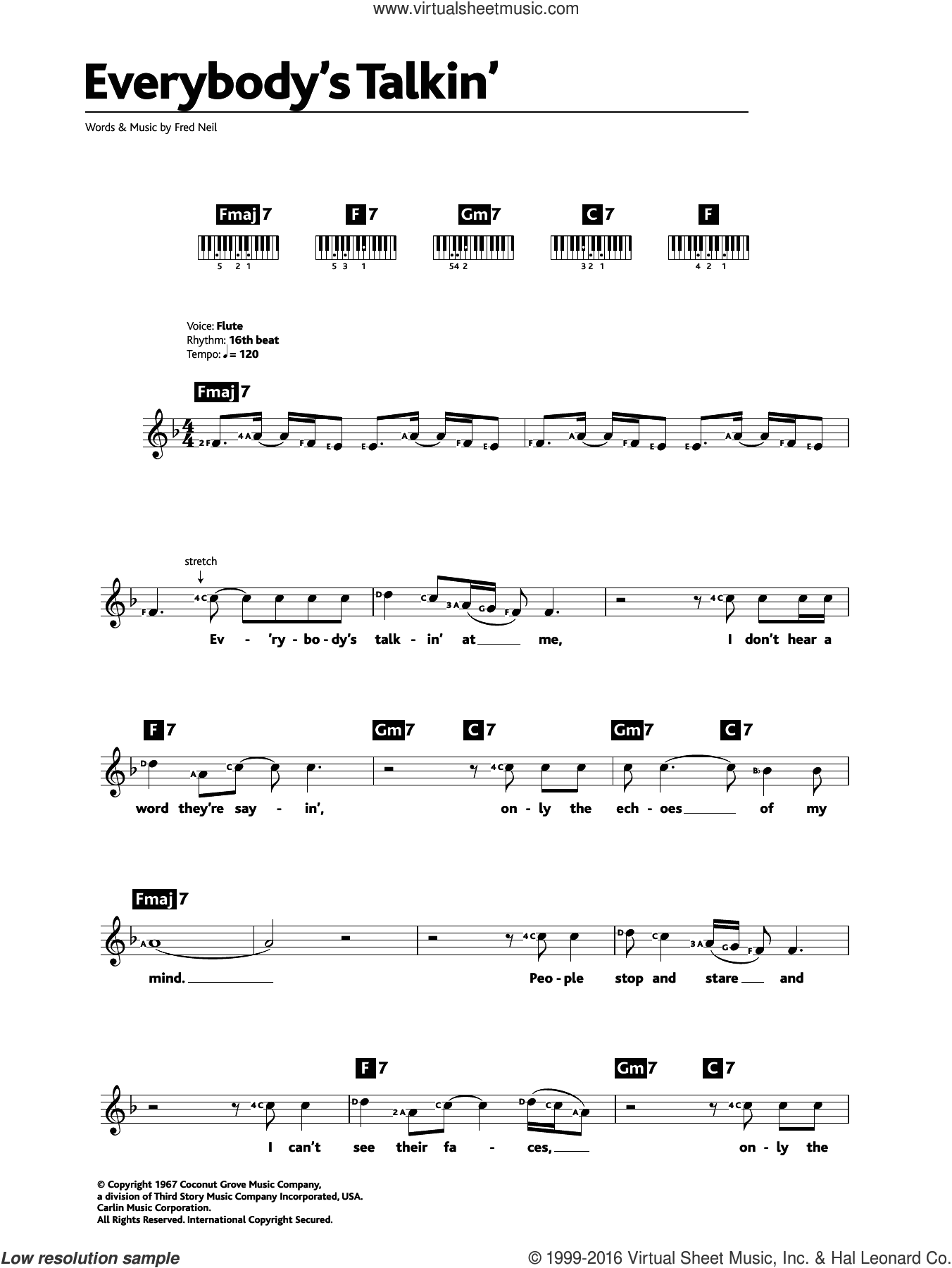 Everybody's Talkin' sheet music for piano solo (chords, lyrics, melody) by Fred Neil and Nilsson. Score Image Preview.