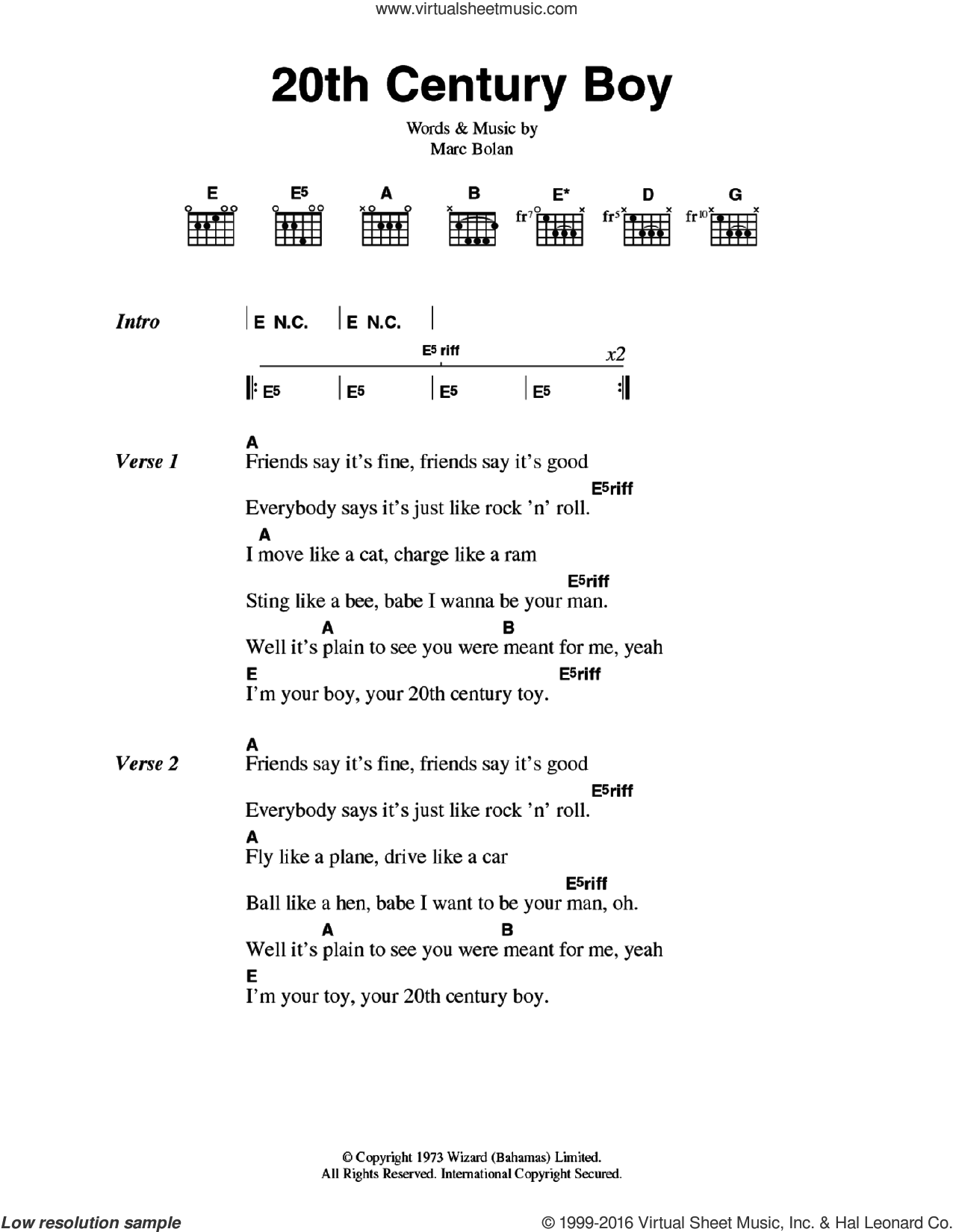 20th Century Boy sheet music for guitar (chords) by T Rex, intermediate guitar (chords). Score Image Preview.