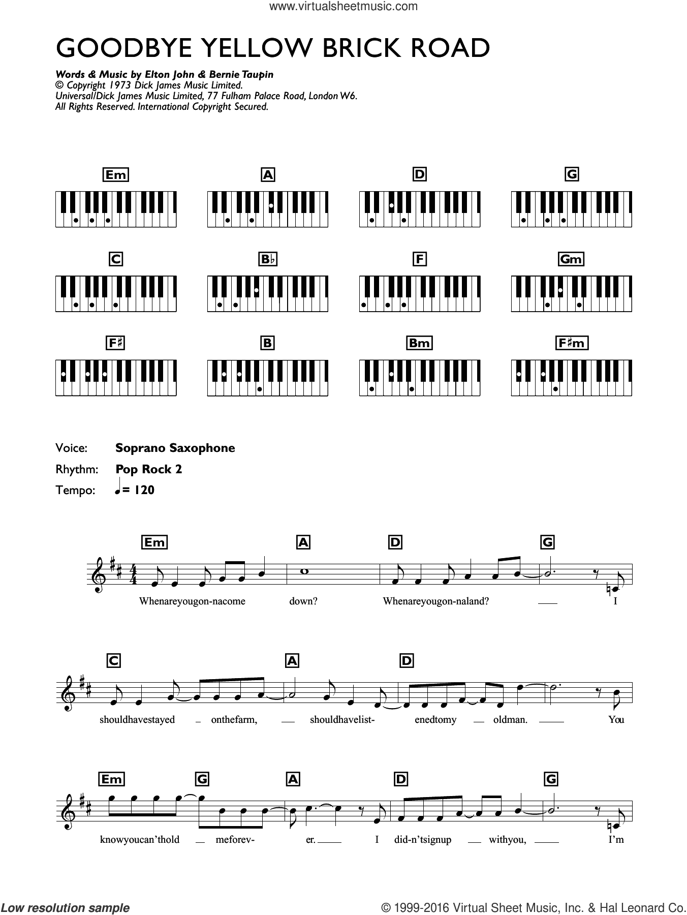 Goodbye Yellow Brick Road sheet music for piano solo (chords, lyrics, melody) by Elton John and Bernie Taupin, intermediate piano (chords, lyrics, melody). Score Image Preview.