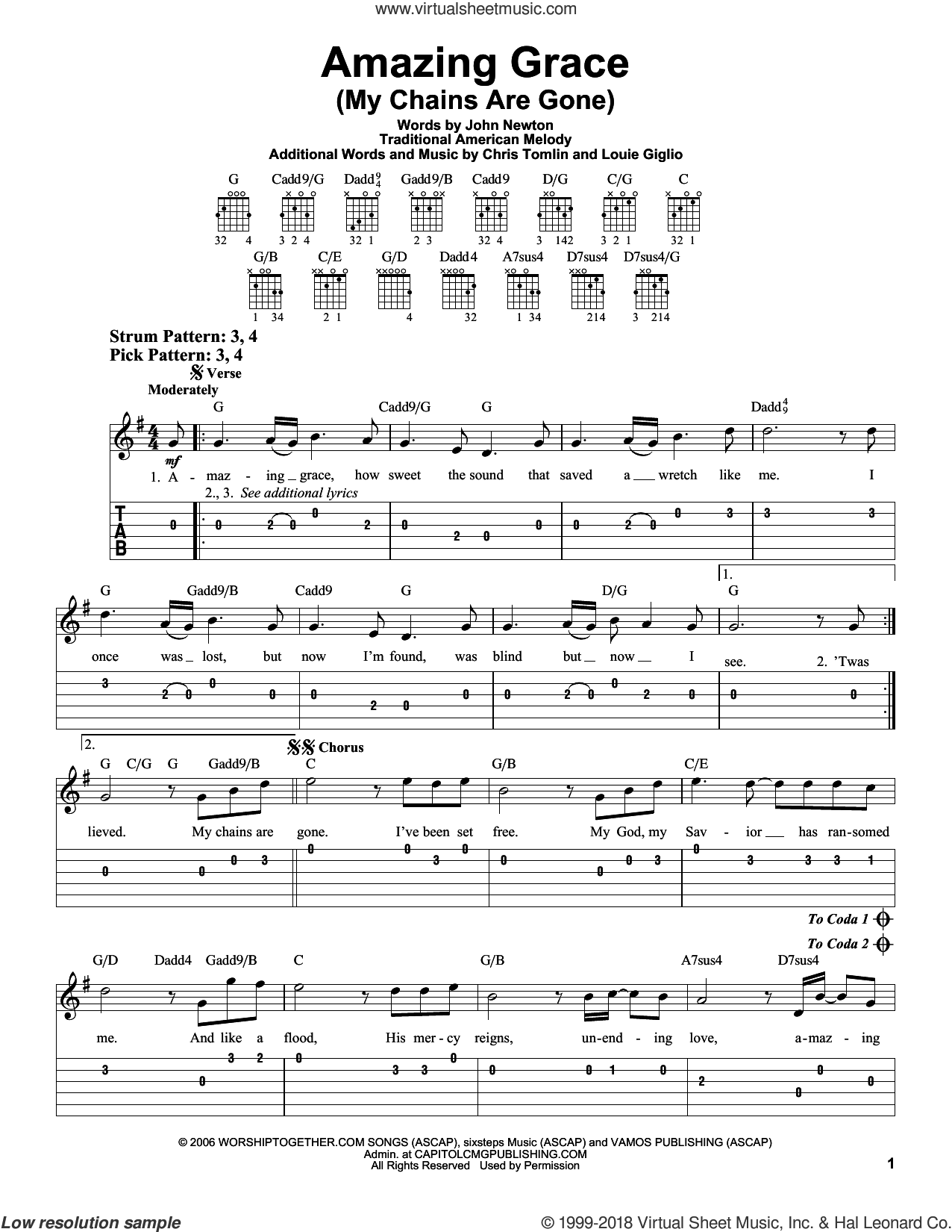 Amazing Grace (My Chains Are Gone) sheet music for guitar solo (easy tablature) by Chris Tomlin, John Newton, Louie Giglio and Miscellaneous, easy guitar (easy tablature)