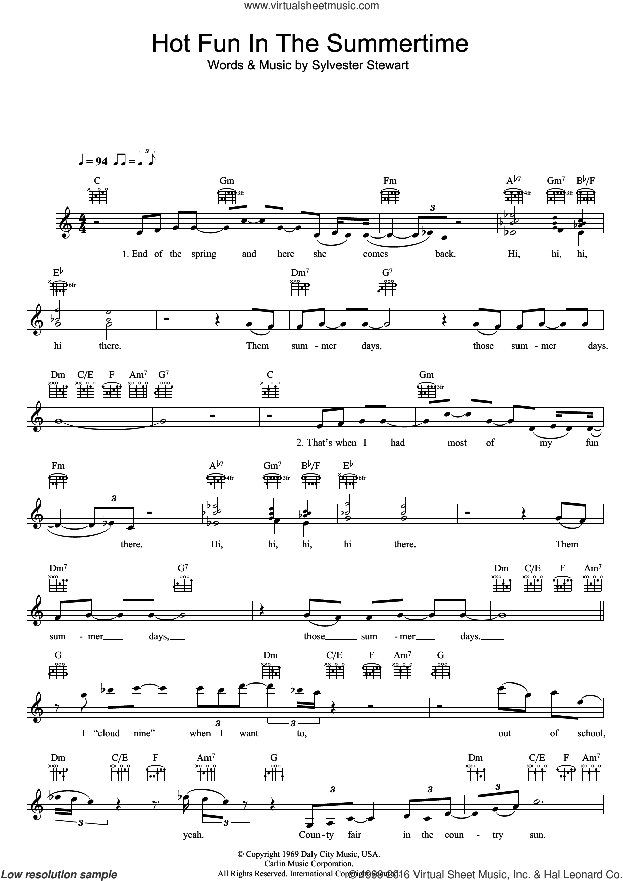 Hot Fun In The Summertime sheet music for voice and other instruments (fake book) by Sly & The Family Stone and Sylvester Stewart, intermediate skill level