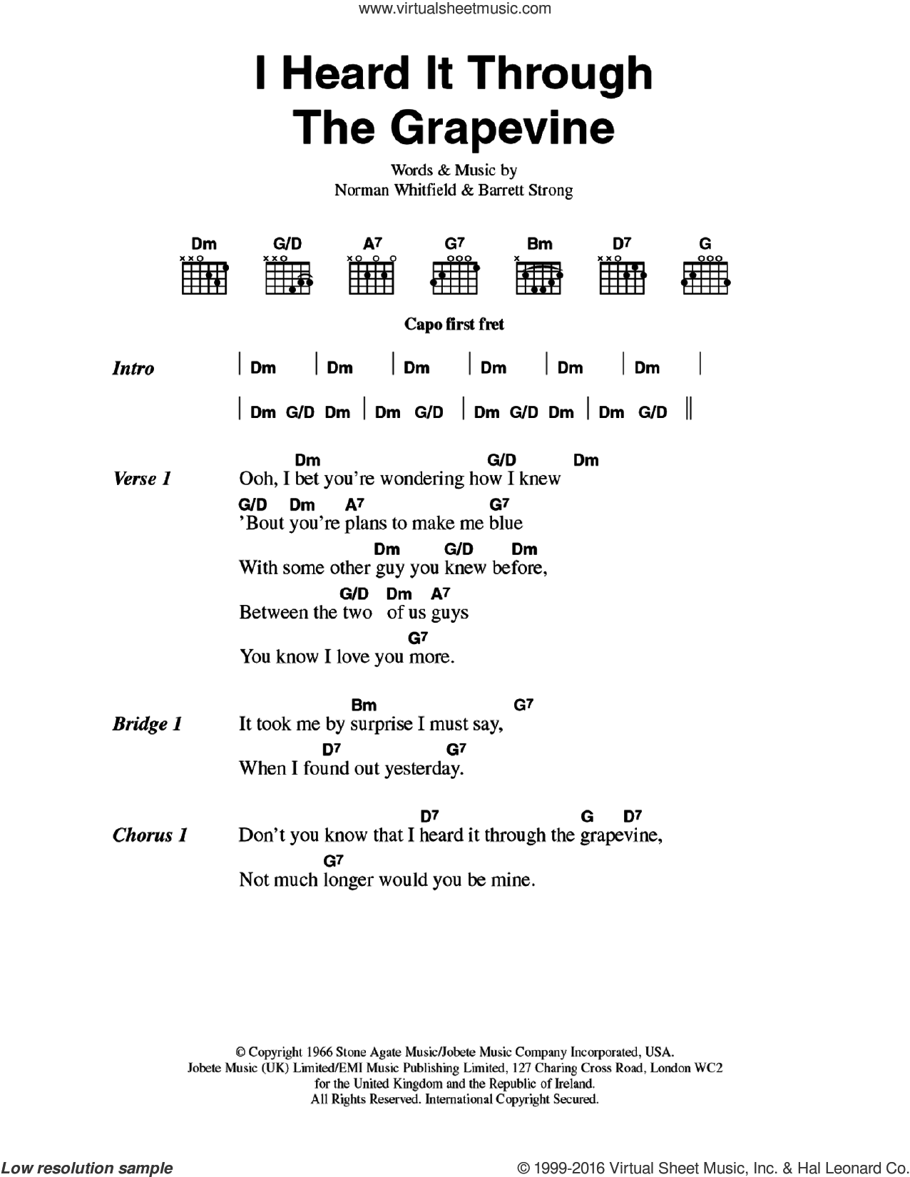 I Heard It Through The Grapevine sheet music for guitar (chords) by Marvin Gaye, Barrett Strong and Norman Whitfield, intermediate skill level