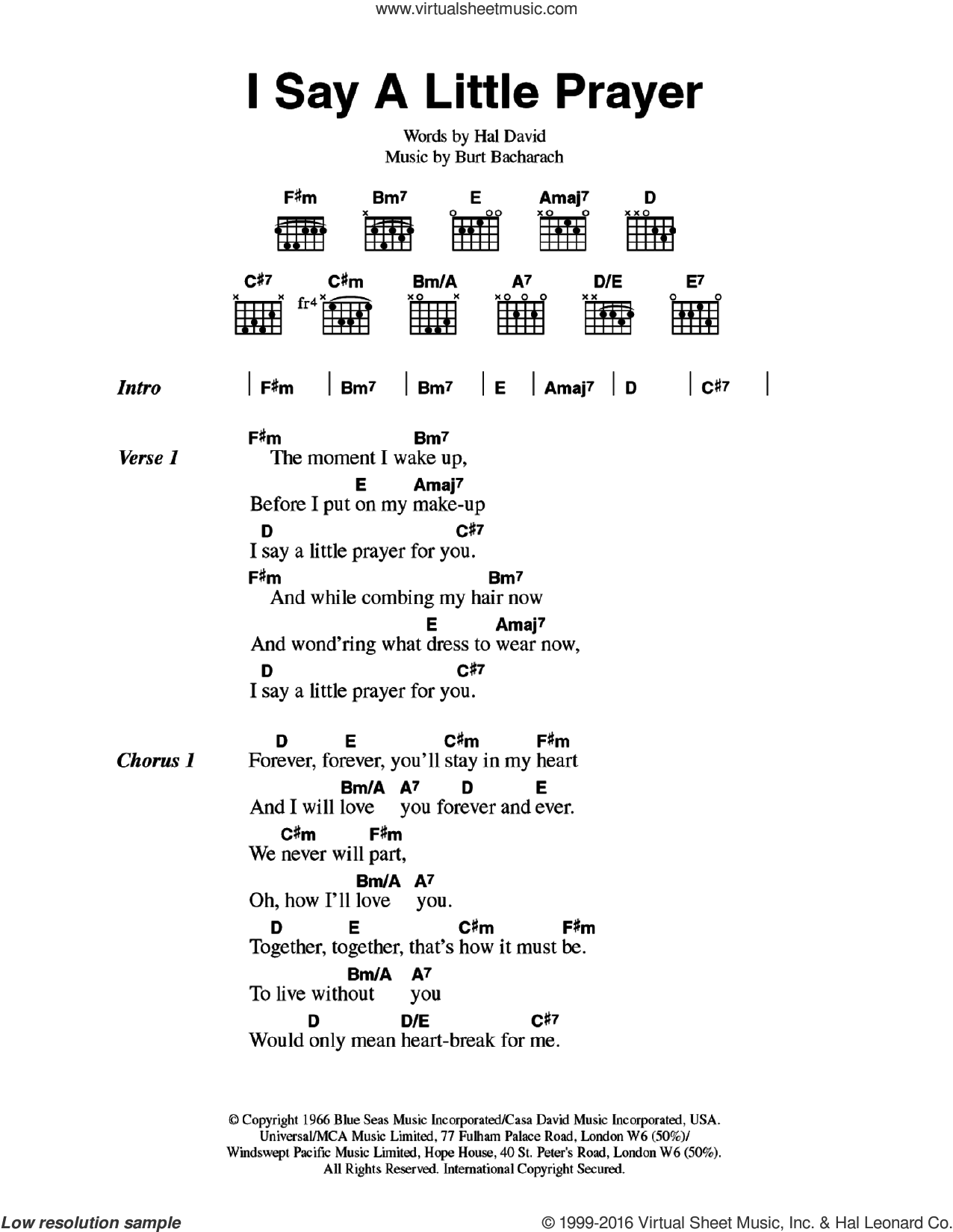 I Say A Little Prayer sheet music for guitar (chords) by Aretha Franklin, Burt Bacharach and Hal David, intermediate skill level