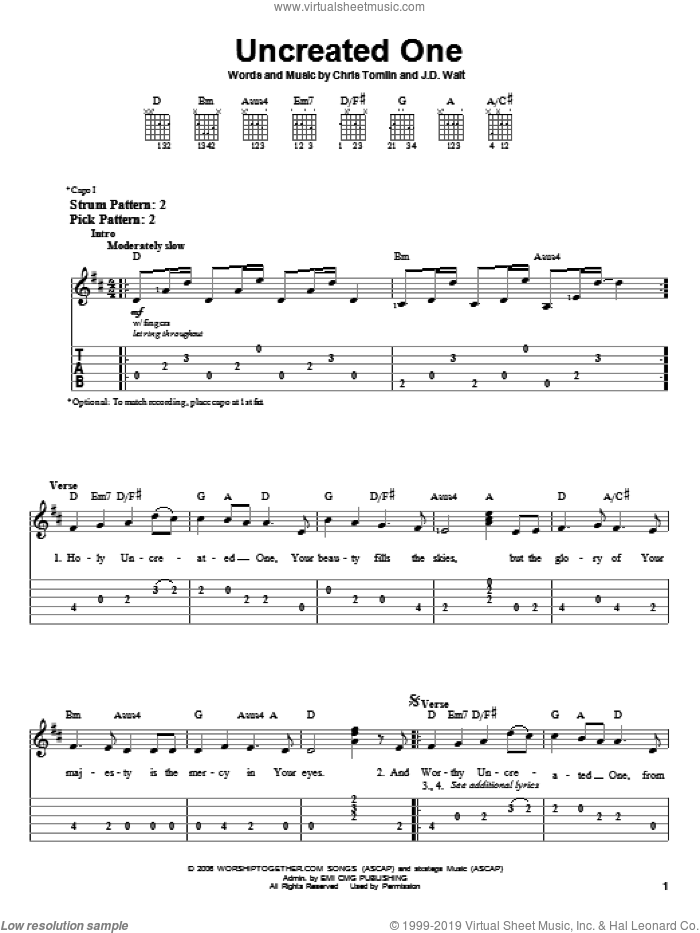 Uncreated One sheet music for guitar solo (easy tablature) by Chris Tomlin and J.D. Walt, easy guitar (easy tablature)