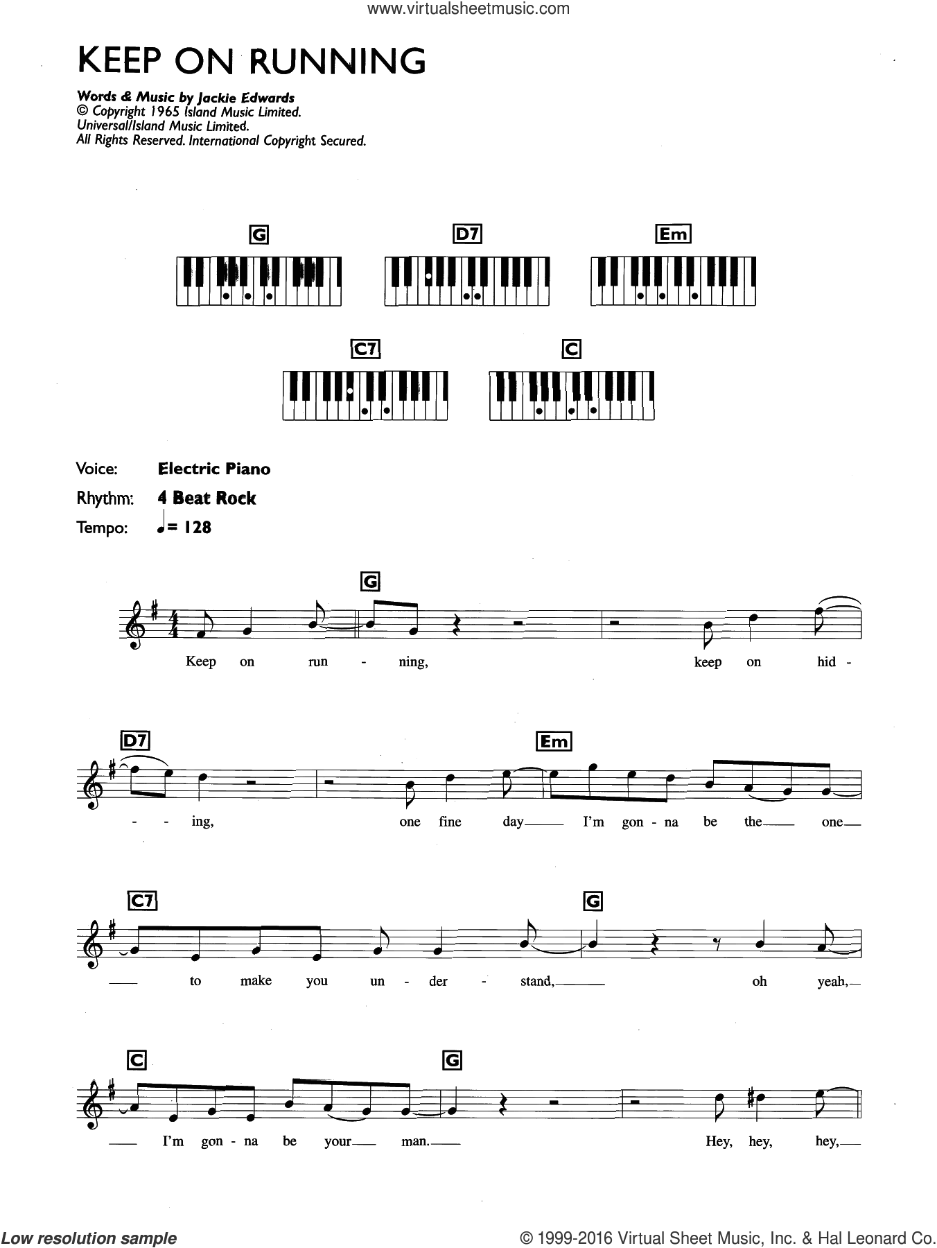 Keep On Running sheet music for piano solo (chords, lyrics, melody) by The Spencer Davis Group, intermediate piano (chords, lyrics, melody). Score Image Preview.