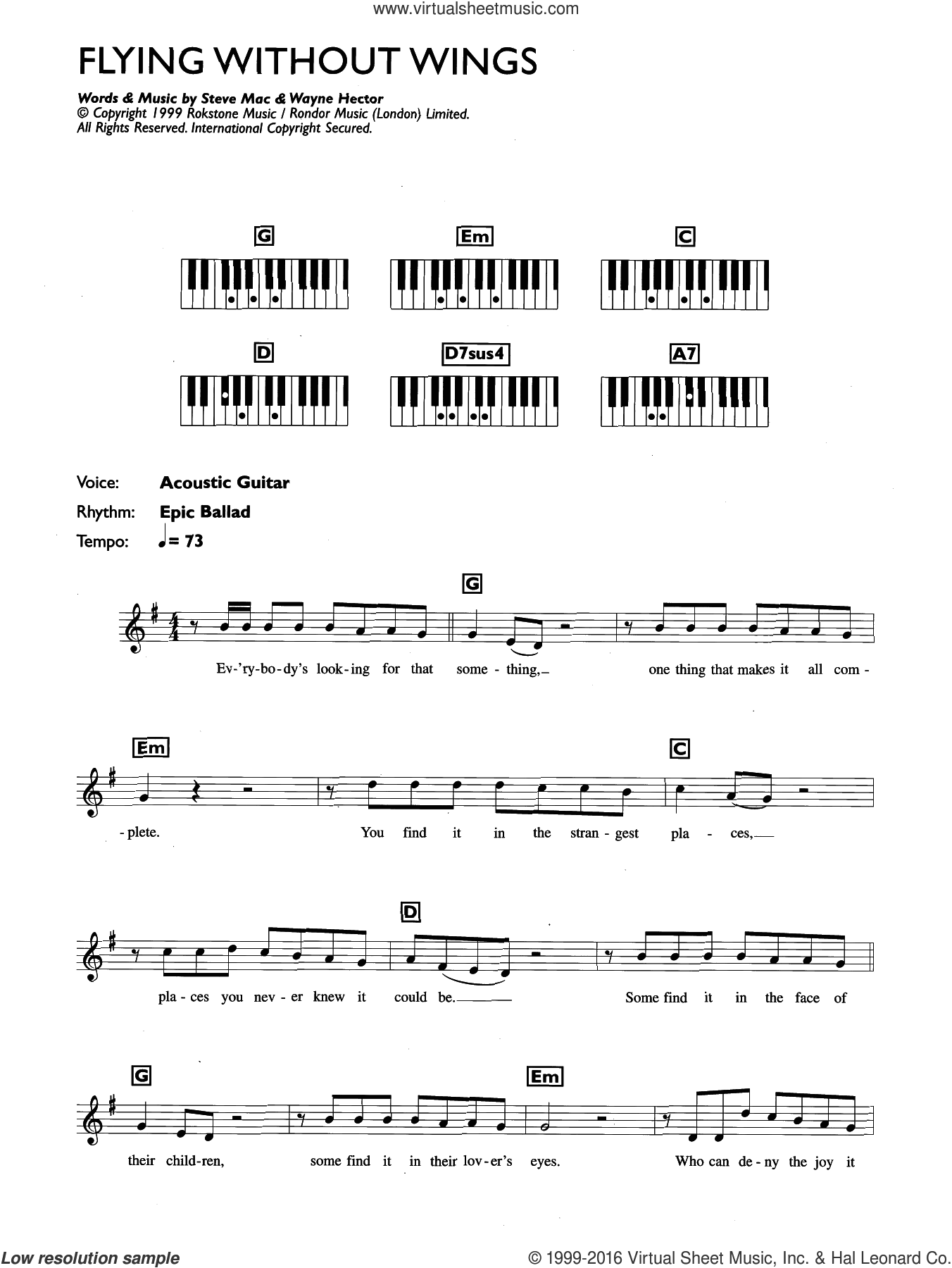 Flying Without Wings sheet music for piano solo (chords, lyrics, melody) by Westlife, Steve Mac and Wayne Hector, intermediate piano (chords, lyrics, melody). Score Image Preview.