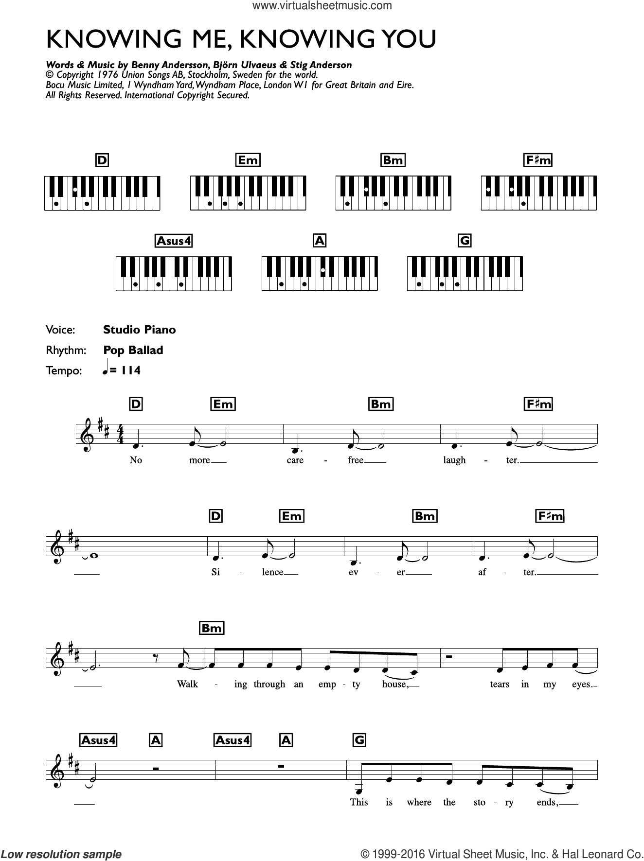 Knowing Me, Knowing You sheet music for piano solo (chords, lyrics, melody) by ABBA, Benny Andersson, Bjorn Ulvaeus and Stig Anderson. Score Image Preview.
