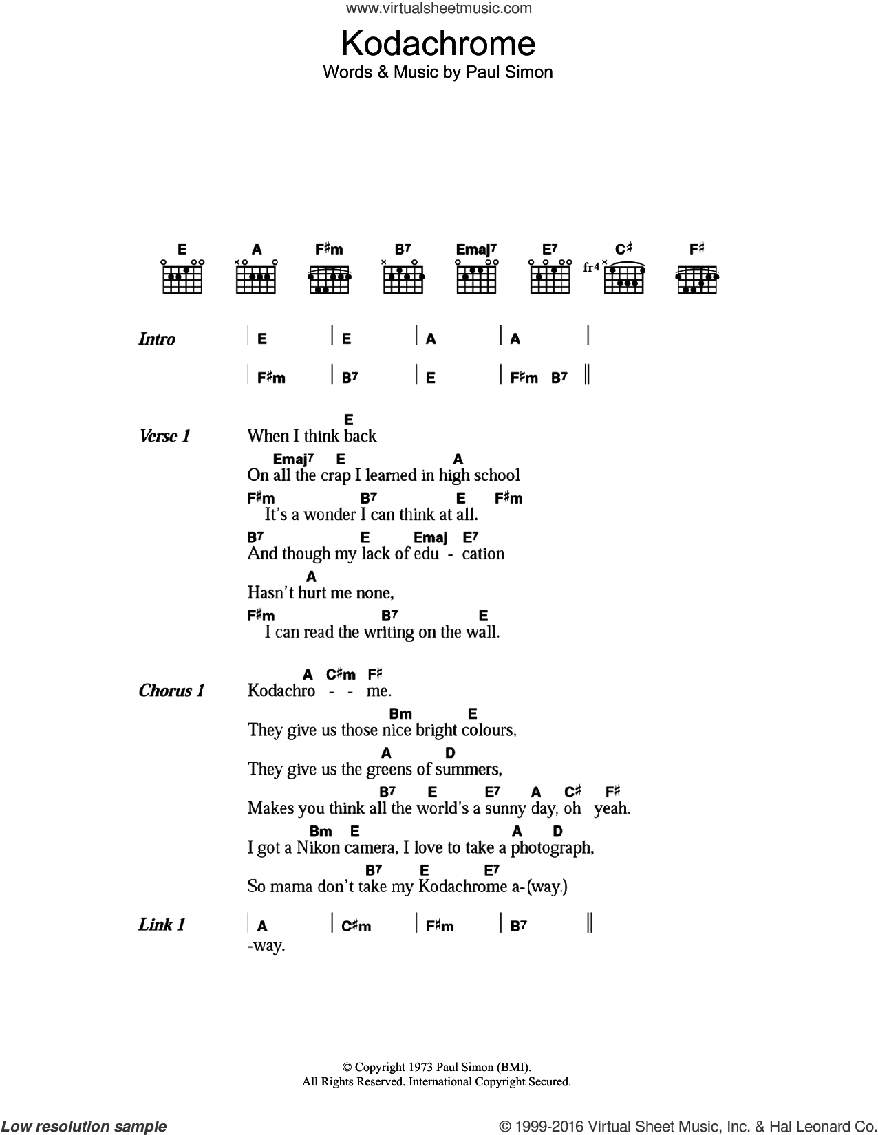KodachromeTM sheet music for guitar (chords) by Paul Simon, intermediate skill level