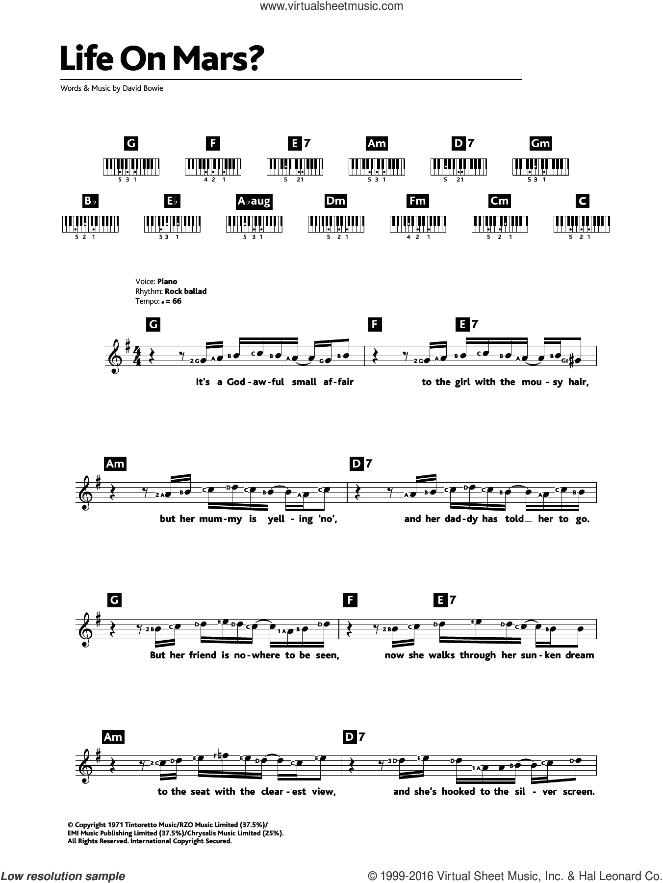 Life On Mars? sheet music for piano solo (chords, lyrics, melody) by David Bowie, intermediate piano (chords, lyrics, melody). Score Image Preview.