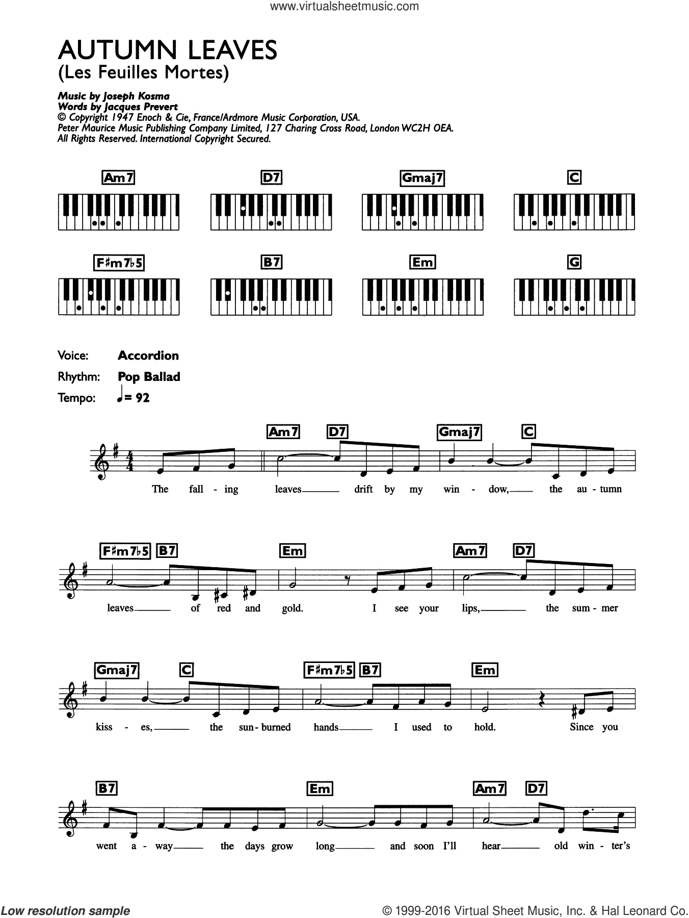 Autumn Leaves (Les Feuilles Mortes) sheet music for piano solo (chords, lyrics, melody) by Eva Cassidy, intermediate piano (chords, lyrics, melody). Score Image Preview.