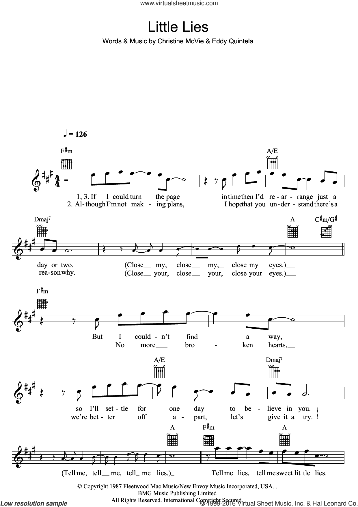 Little Lies sheet music for voice and other instruments (fake book) by Eddy Quintela, Fleetwood Mac and Christine McVie. Score Image Preview.