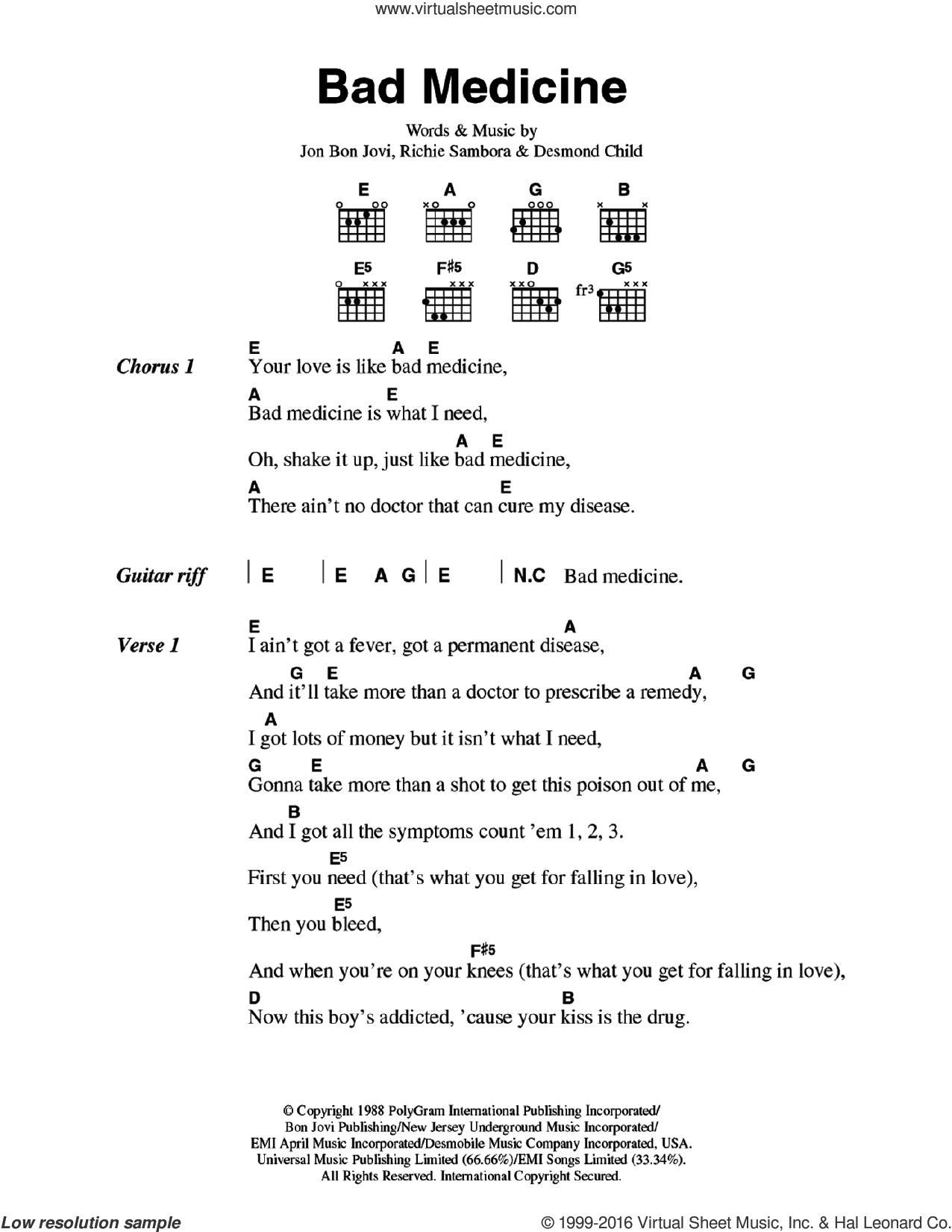 Bad Medicine sheet music for guitar (chords) by Richie Sambora, Bon Jovi and Desmond Child. Score Image Preview.