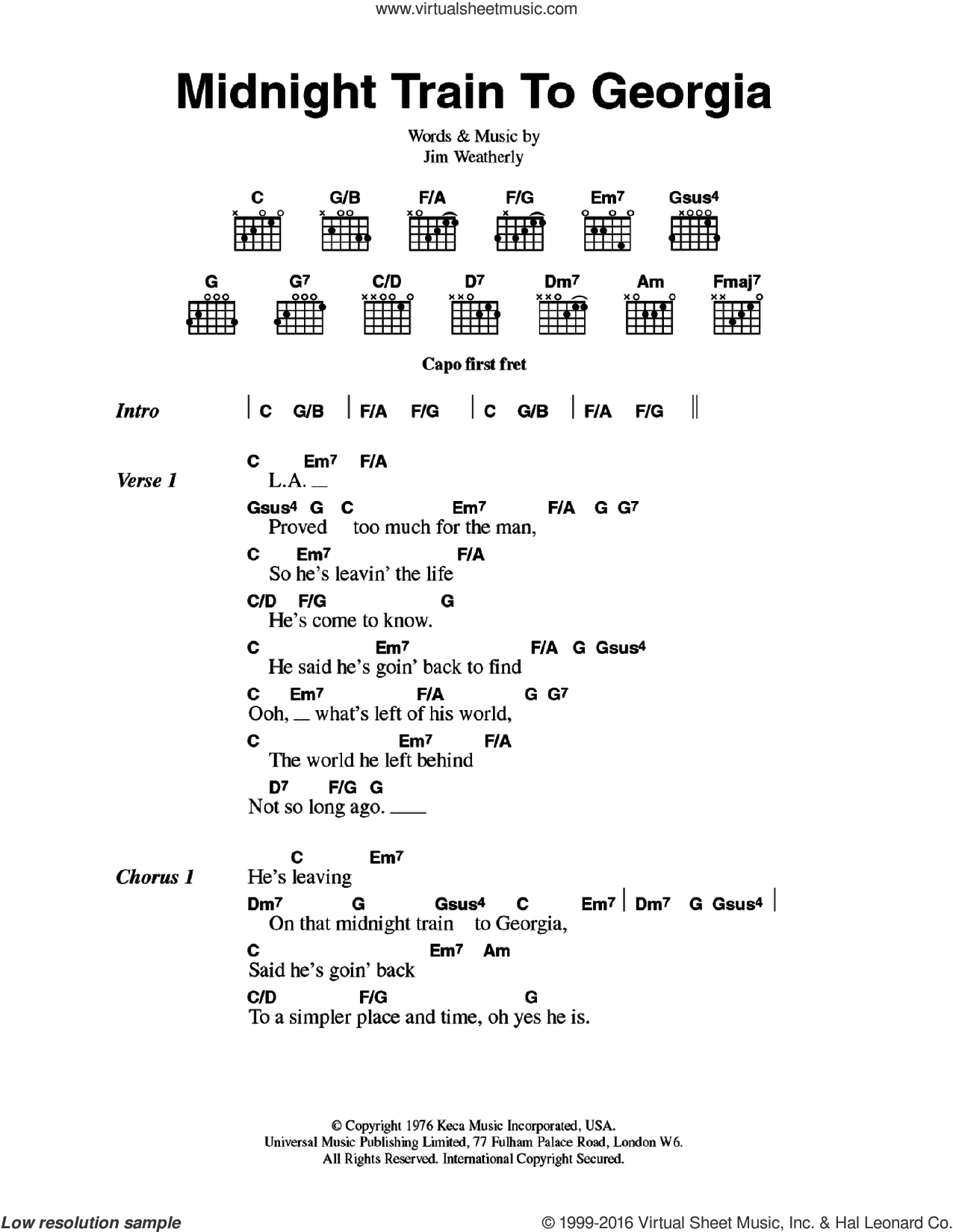 Midnight Train To Georgia sheet music for guitar (chords) by Gladys Knight & The Pips and Jim Weatherly, intermediate skill level