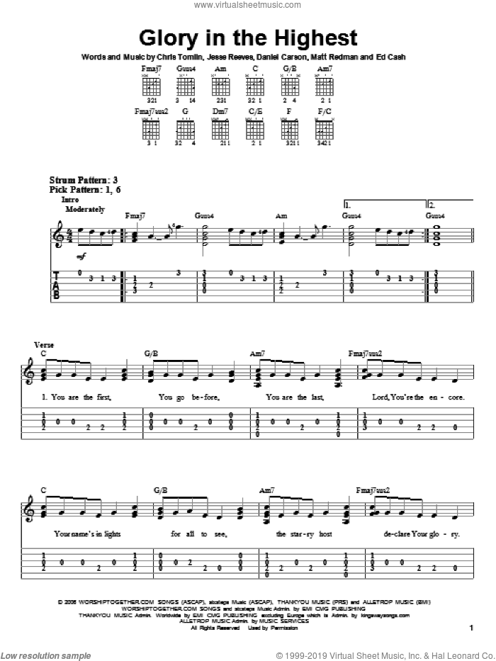 Glory In The Highest sheet music for guitar solo (easy tablature) by Chris Tomlin, Brenton Brown, Daniel Carson, Ed Cash, Jesse Reeves and Matt Redman, easy guitar (easy tablature). Score Image Preview.