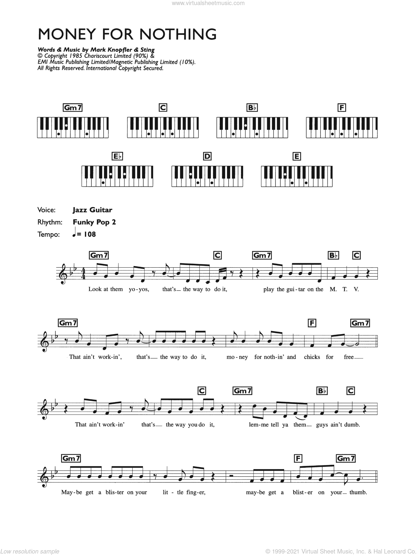 Money For Nothing sheet music for piano solo (chords, lyrics, melody) by Mark Knopfler and Dire Straits. Score Image Preview.