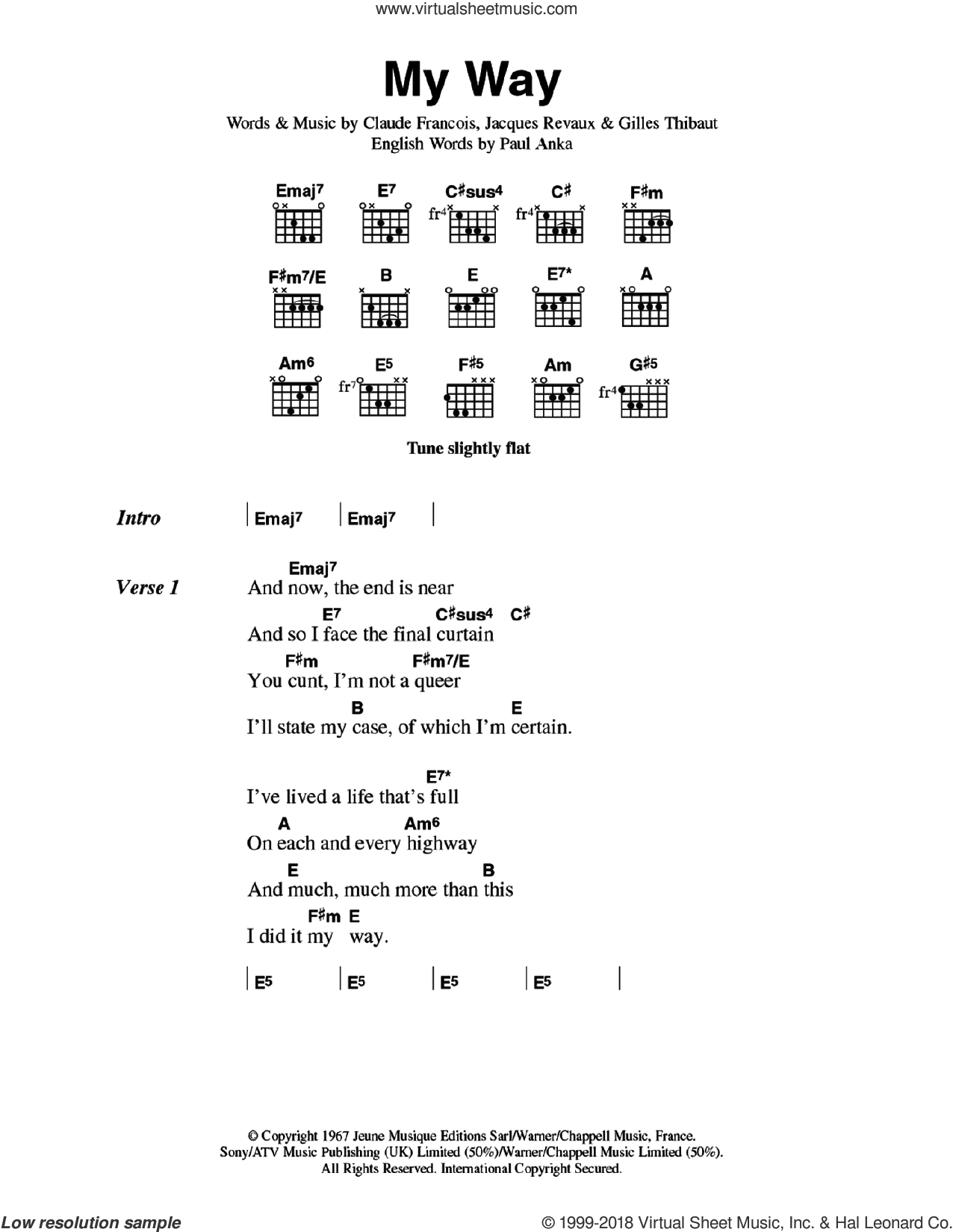 My Way sheet music for guitar (chords) by The Sex Pistols, Claude Francois, Gilles Thibaut and Jacques Revaux, intermediate skill level