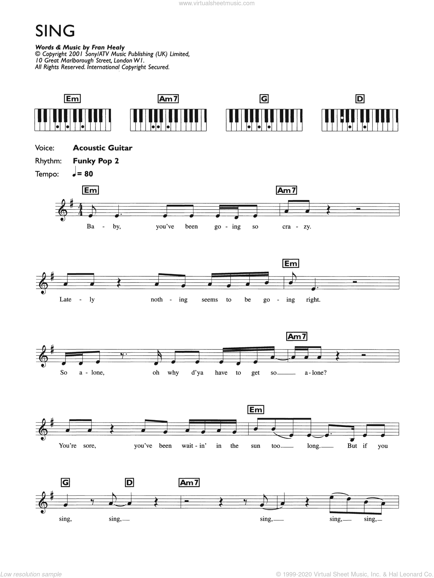 Sing sheet music for piano solo (chords, lyrics, melody) by Merle Travis and Fran Healy, intermediate piano (chords, lyrics, melody)