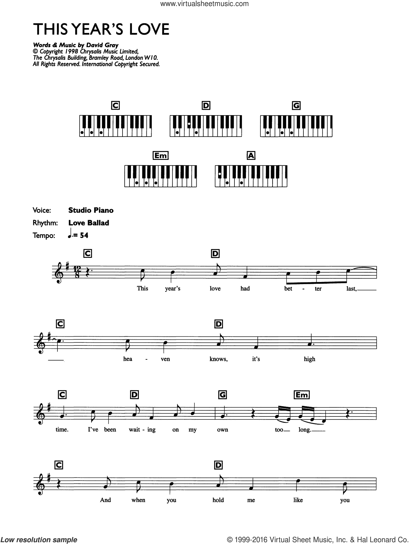 This Year's Love sheet music for piano solo (chords, lyrics, melody) by David Gray. Score Image Preview.