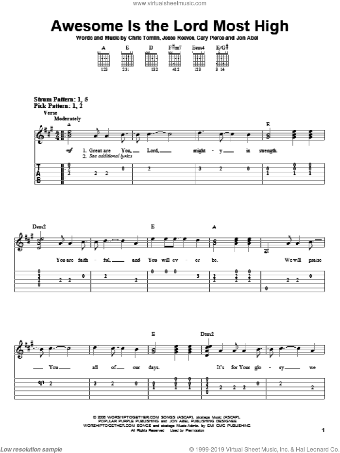 Awesome Is The Lord Most High sheet music for guitar solo (easy tablature) by Chris Tomlin, Brenton Brown, Cary Pierce, Jesse Reeves and Jon Abel, easy guitar (easy tablature)