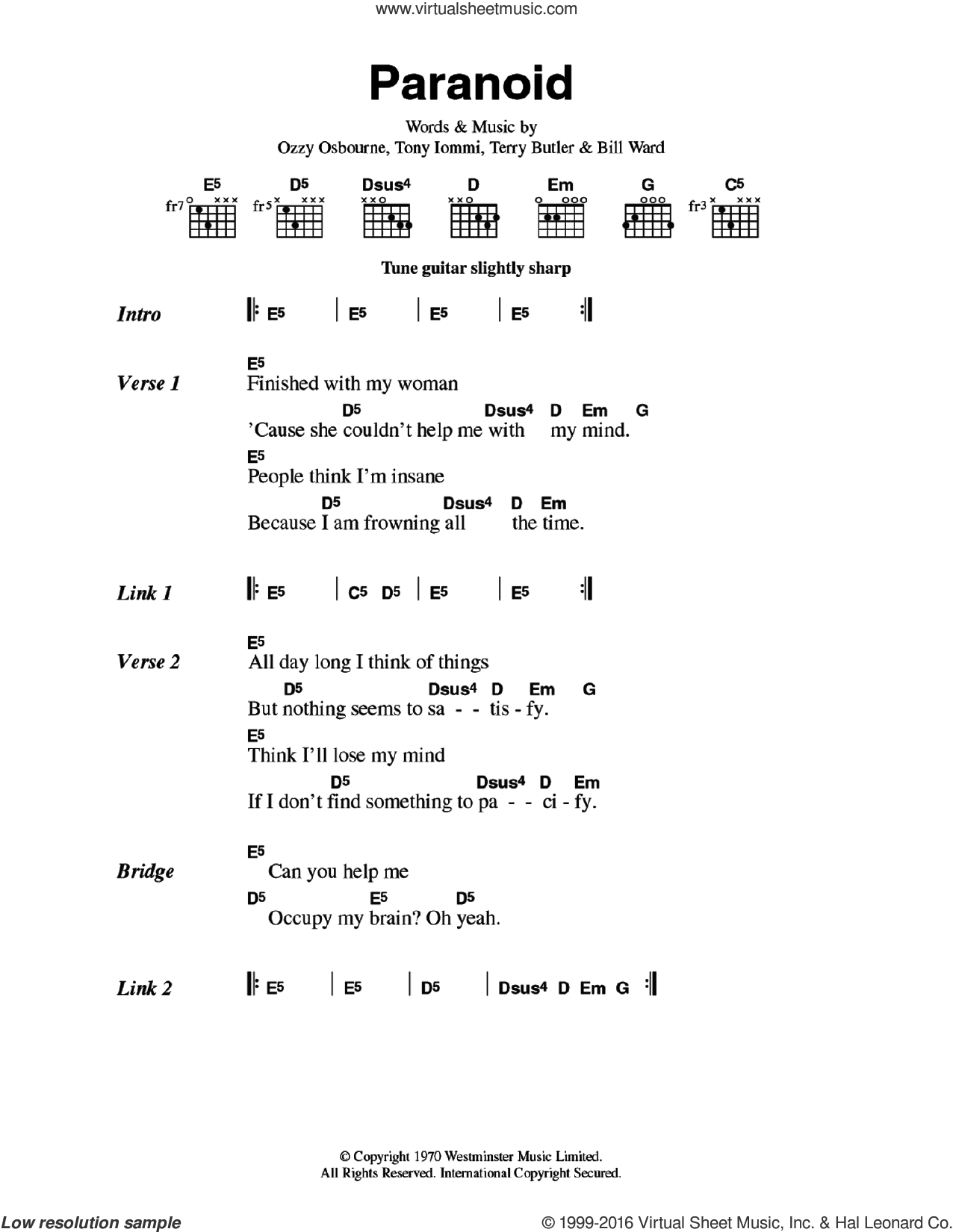 Paranoid sheet music for guitar (chords) by Tony Iommi, Black Sabbath, Bill Ward and Ozzy Osbourne. Score Image Preview.