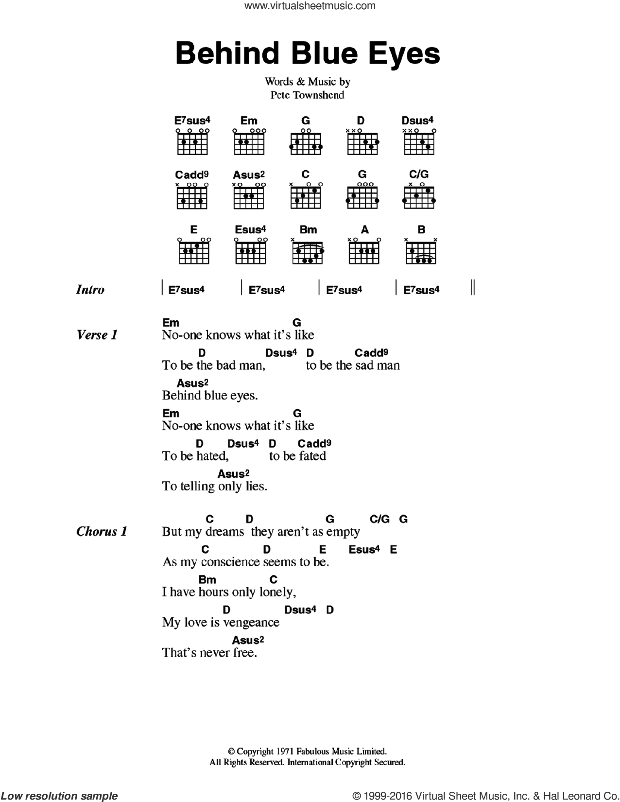Behind Blue Eyes sheet music for guitar (chords) by Pete Townshend