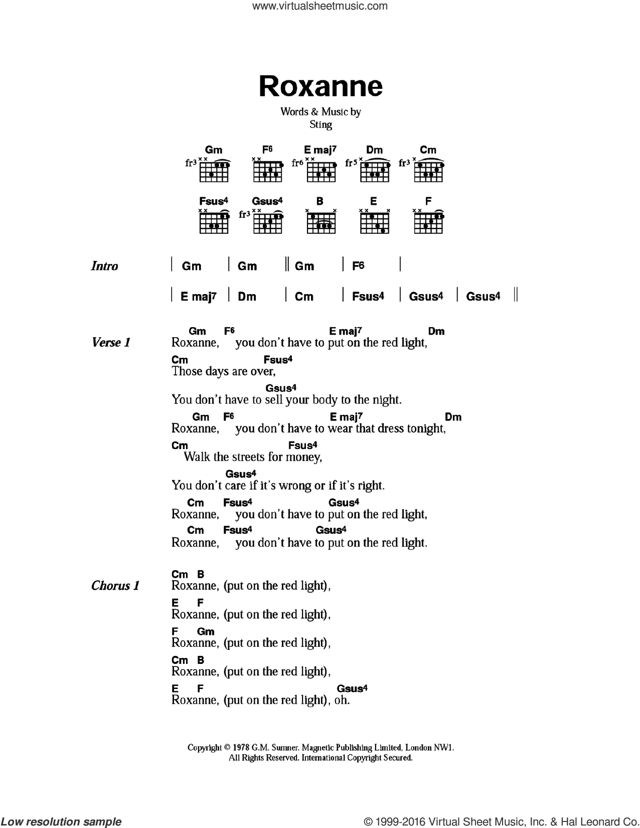 Roxanne sheet music for guitar (chords) by Sting and The Police. Score Image Preview.
