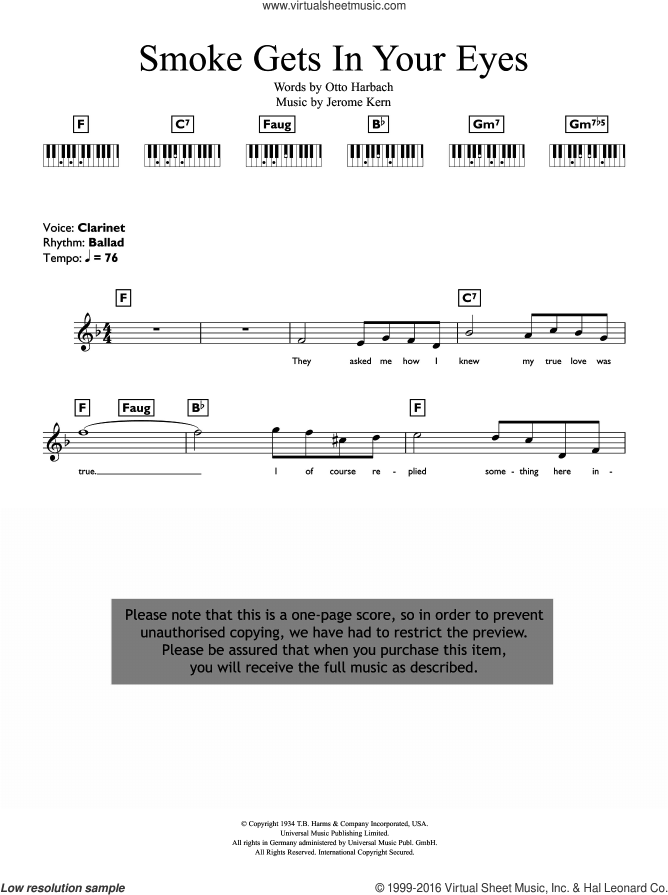 Smoke Gets In Your Eyes sheet music for piano solo (chords, lyrics, melody) by The Platters, Jerome Kern and Otto Harbach, intermediate piano (chords, lyrics, melody). Score Image Preview.