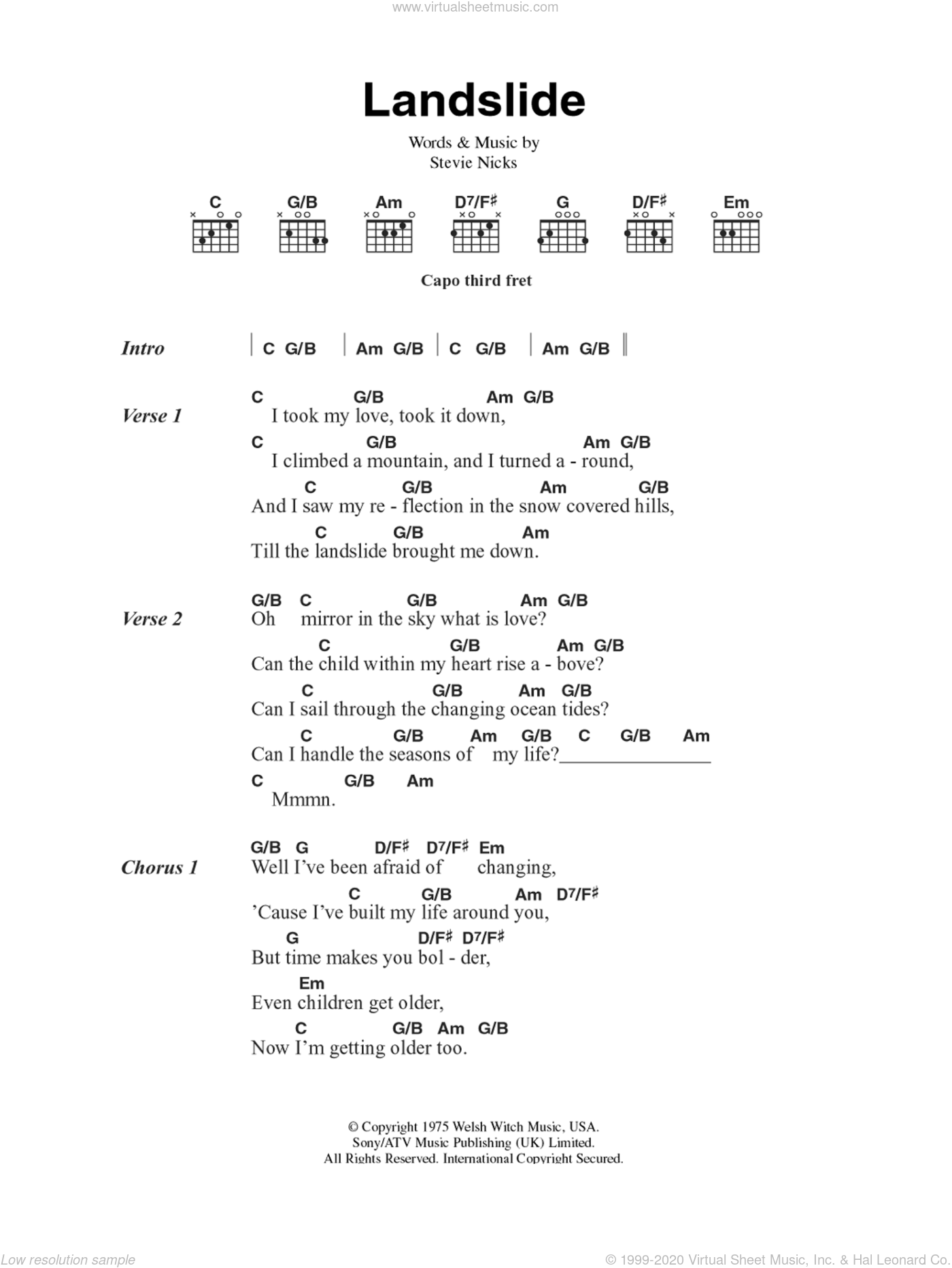 Landslide sheet music for guitar (chords) by Stevie Nicks and Fleetwood Mac. Score Image Preview.