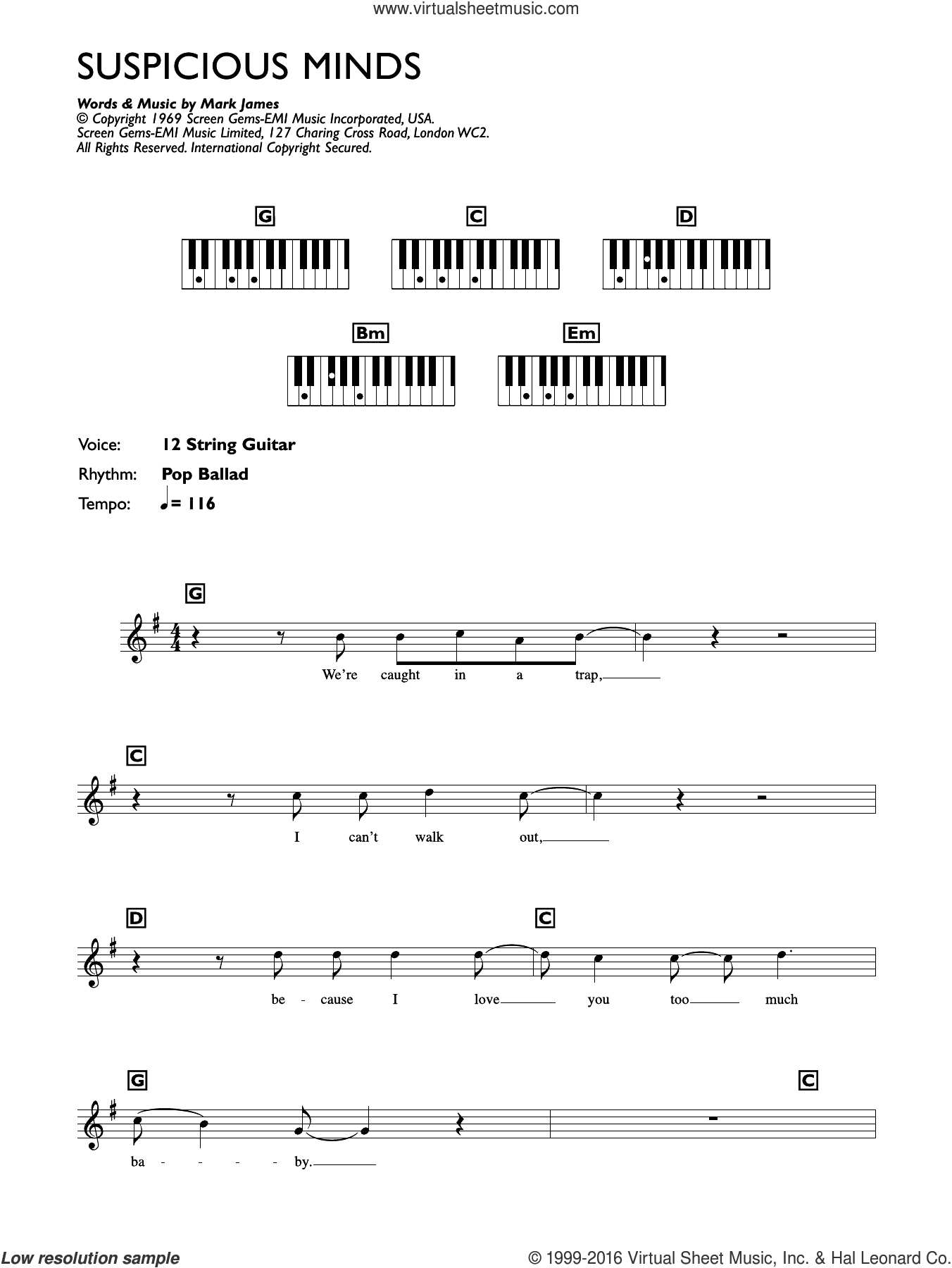 Suspicious Minds sheet music for piano solo (keyboard) by Elvis Presley and Francis Zambon, intermediate piano (keyboard)