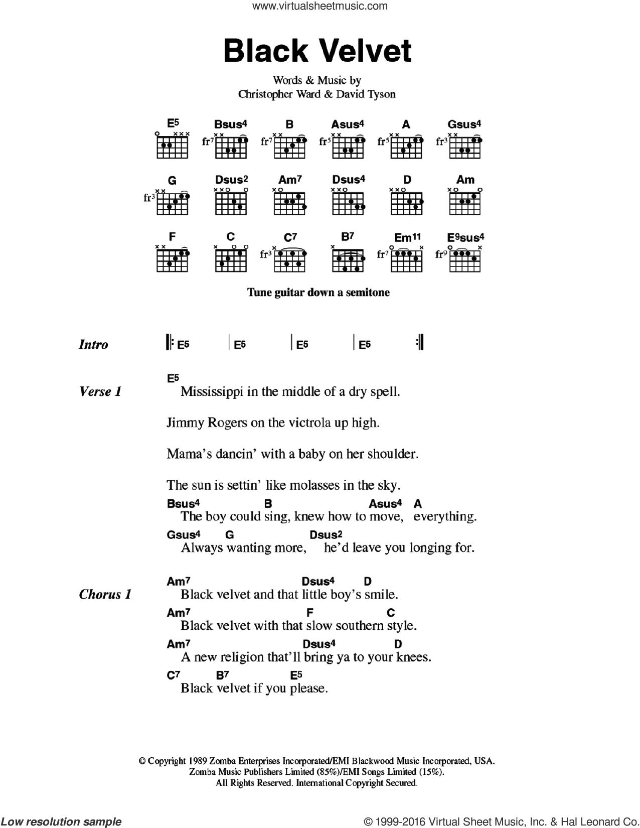 Myles Black Velvet Sheet Music For Guitar Chords Pdf