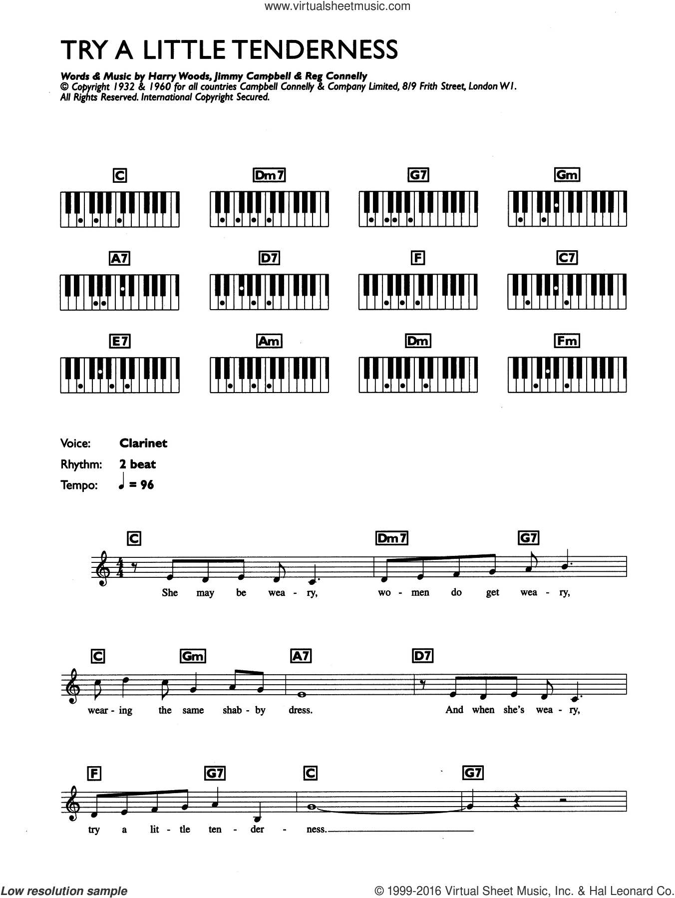Try A Little Tenderness sheet music for piano solo (chords, lyrics, melody) by Reg Connelly, Otis Redding, Harry Woods and Jimmy Campbell. Score Image Preview.
