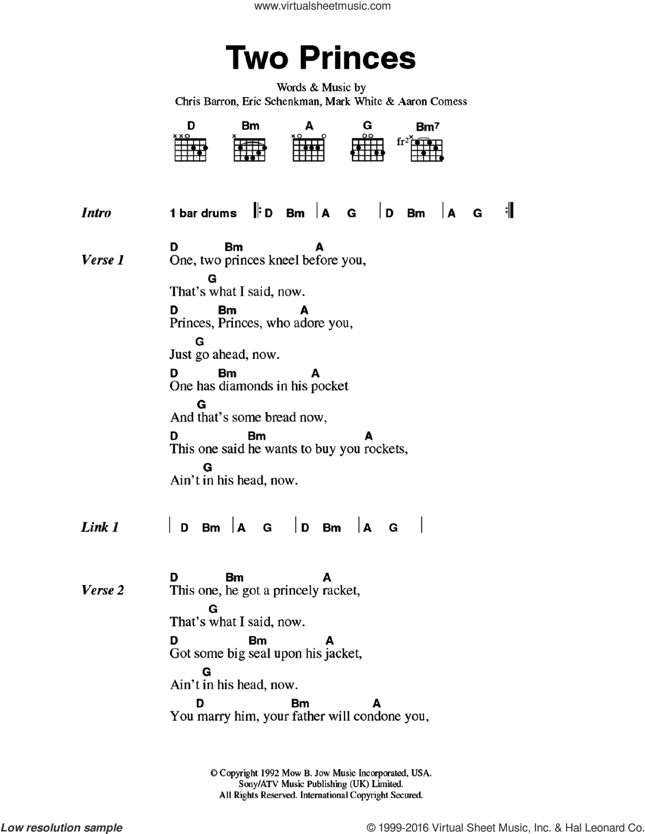 Two Princes sheet music for guitar (chords) by Spin Doctors, Aaron Comess, Chris Barron, Eric Schenkman and Mark White, intermediate skill level