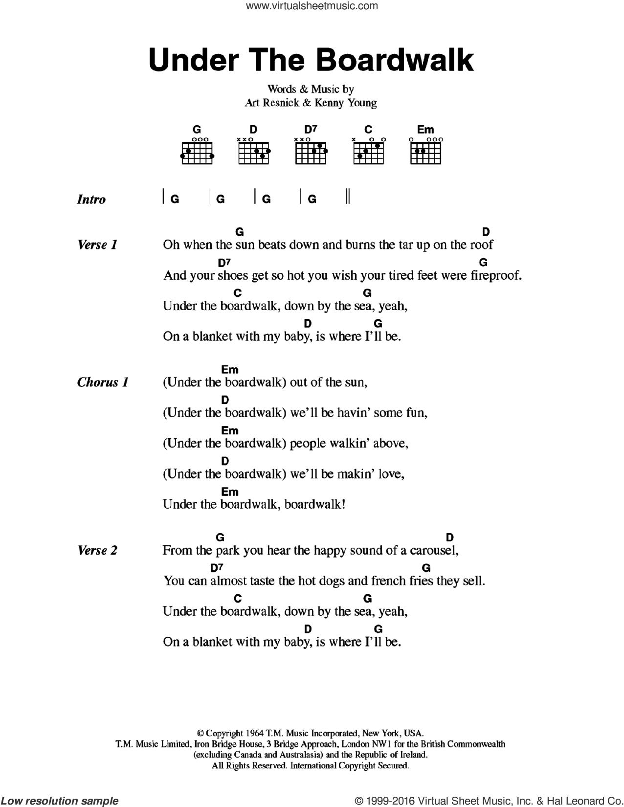 Under The Boardwalk sheet music for guitar (chords) by The Drifters, Art Resnick and Kenny Young, intermediate skill level