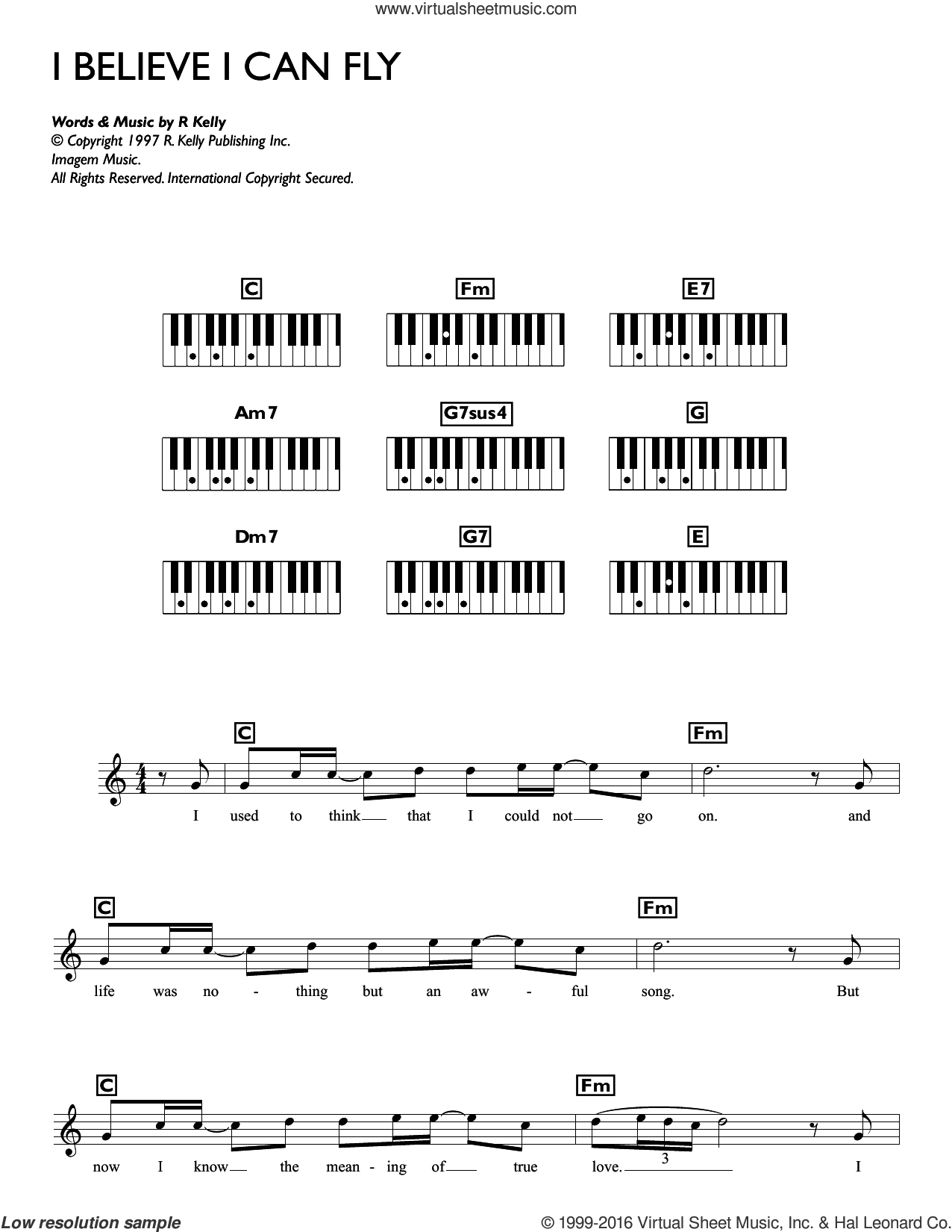 I Believe I Can Fly sheet music for piano solo (chords, lyrics, melody) by Robert Kelly, intermediate piano (chords, lyrics, melody)