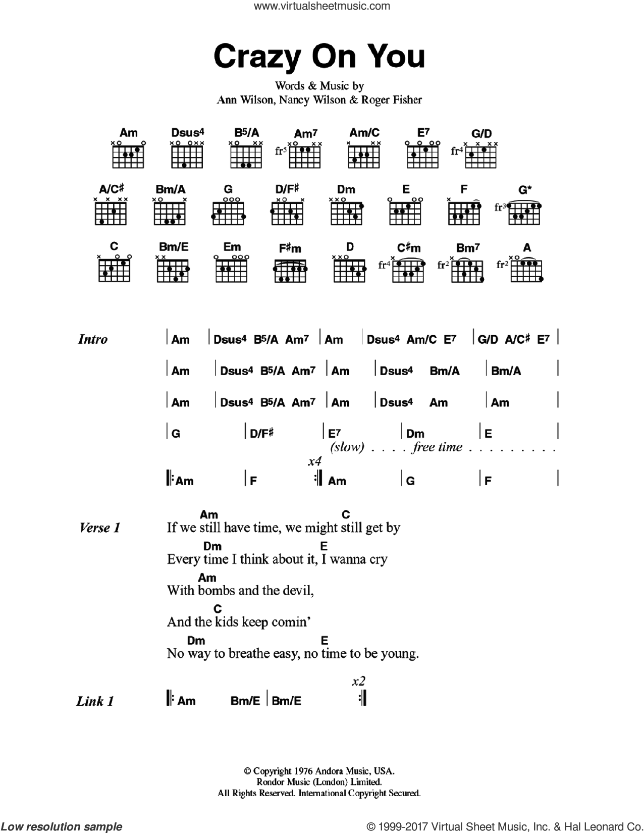 Crazy On You sheet music for guitar (chords) by Heart, Ann Wilson, Nancy Wilson and Roger Fisher, intermediate skill level