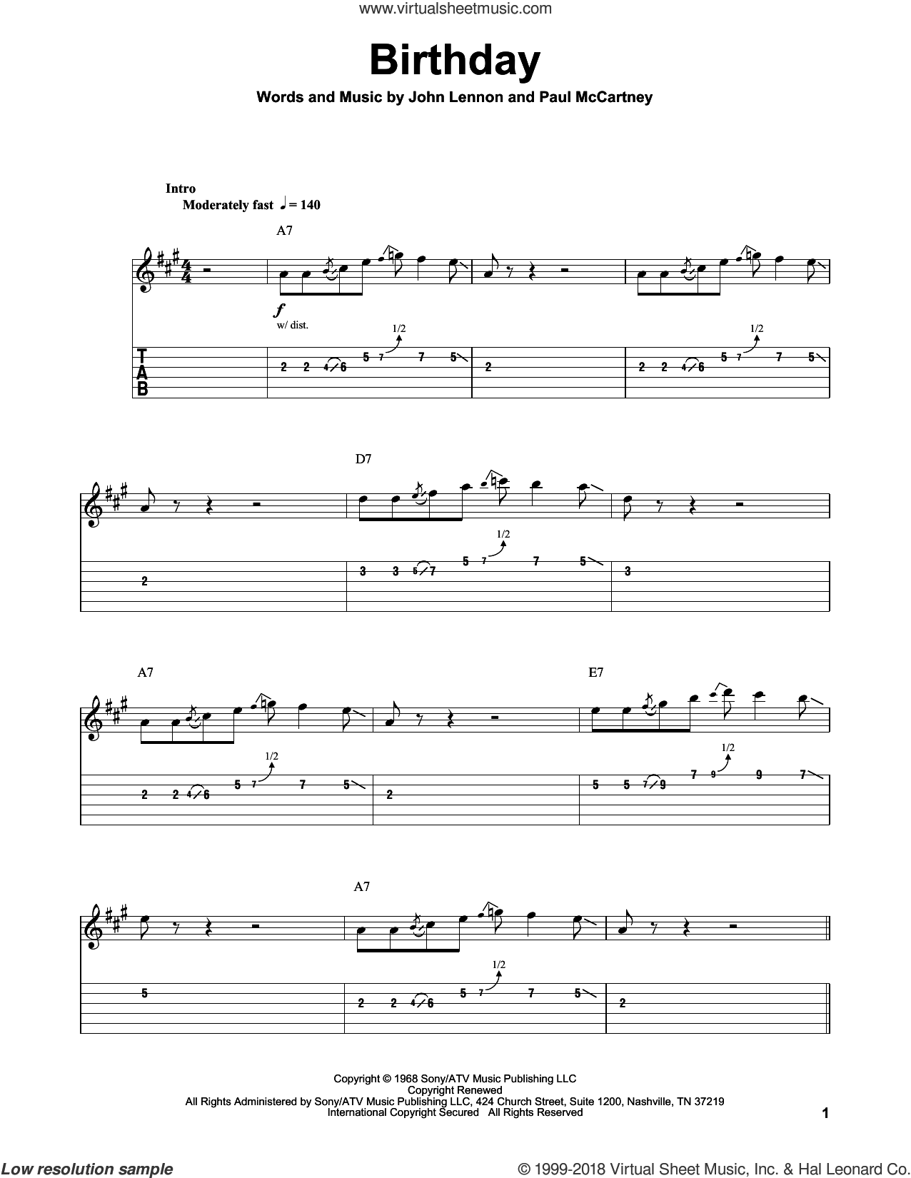 Birthday sheet music for guitar (tablature, play-along) by The Beatles, John Lennon and Paul McCartney, intermediate skill level