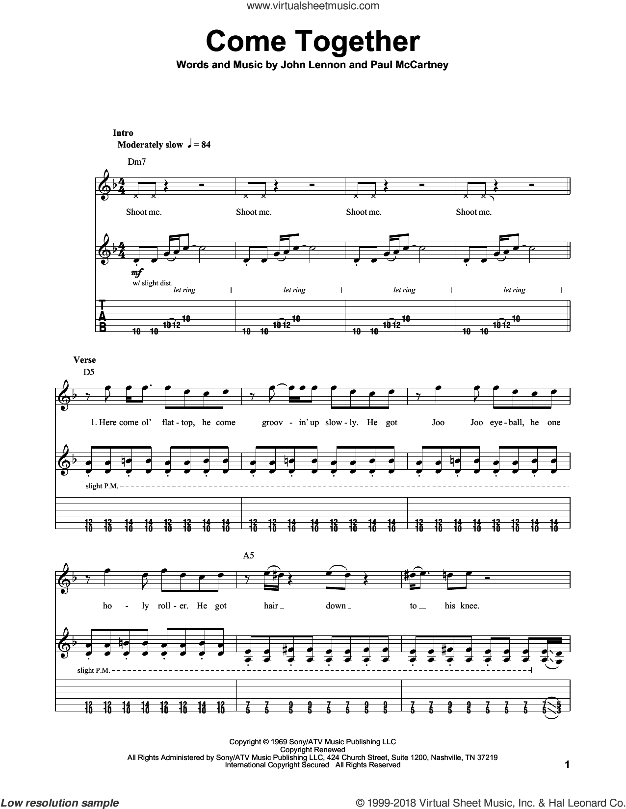 Come Together sheet music for guitar (tablature, play-along) by The Beatles, John Lennon and Paul McCartney. Score Image Preview.