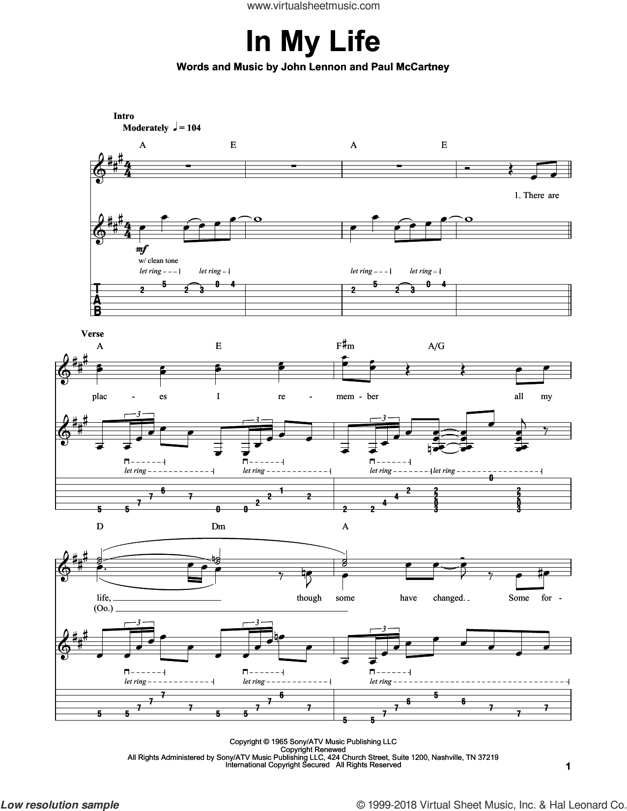 In My Life sheet music for guitar (tablature, play-along) by The Beatles, John Lennon and Paul McCartney. Score Image Preview.